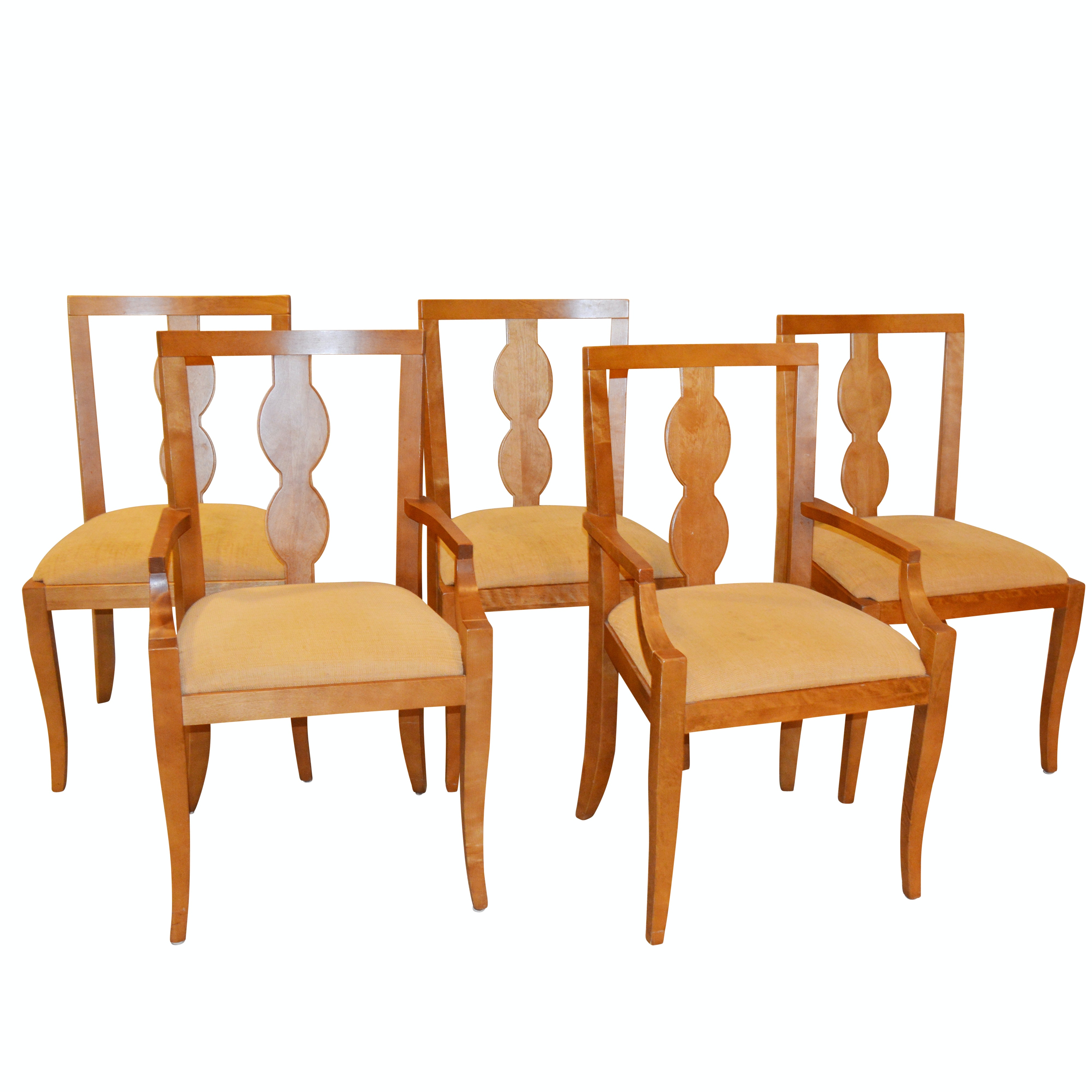 Maple Splat Back Dining Chairs with Upholstered Seats, Late 20th Century