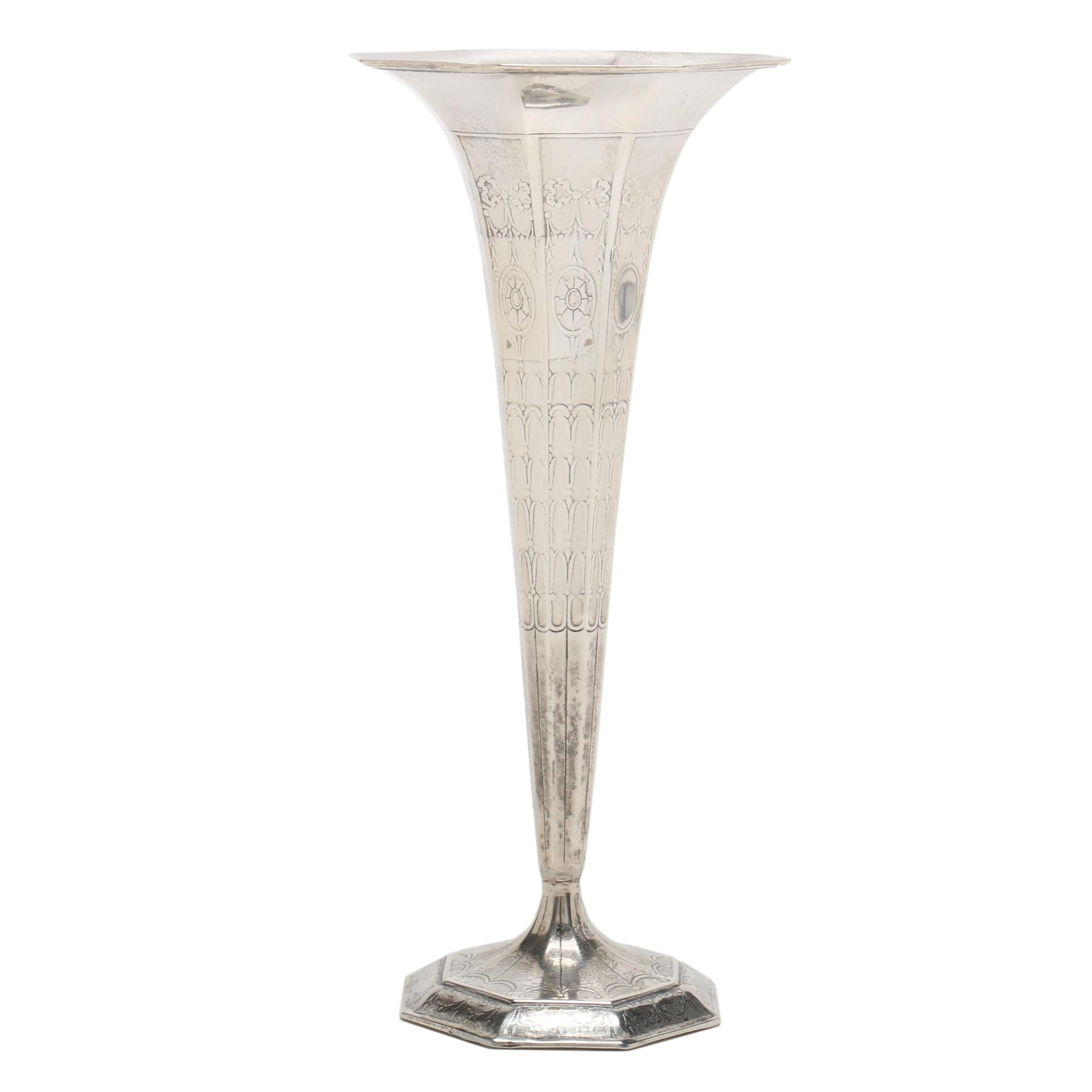 Tiffany & Co. Weighted Sterling Silver Embossed Trumpet Vase