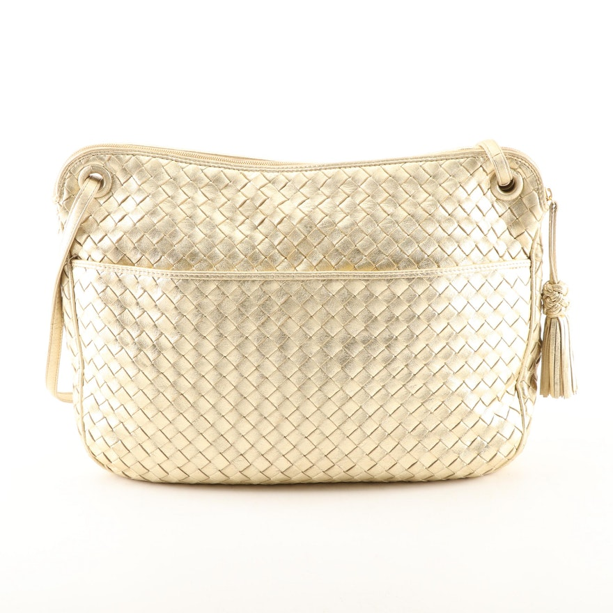 Bottega Veneta Gold Metallic Intrecciato Woven Leather Handbag   EBTH 1c619a6552c02