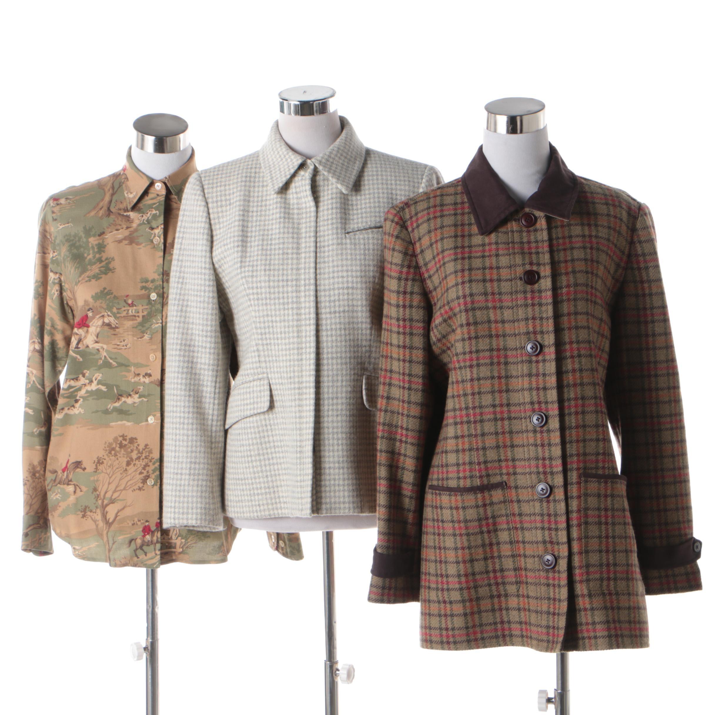 Women's Wool Jackets and Shirt Including Lauren Ralph Lauren and Orvis