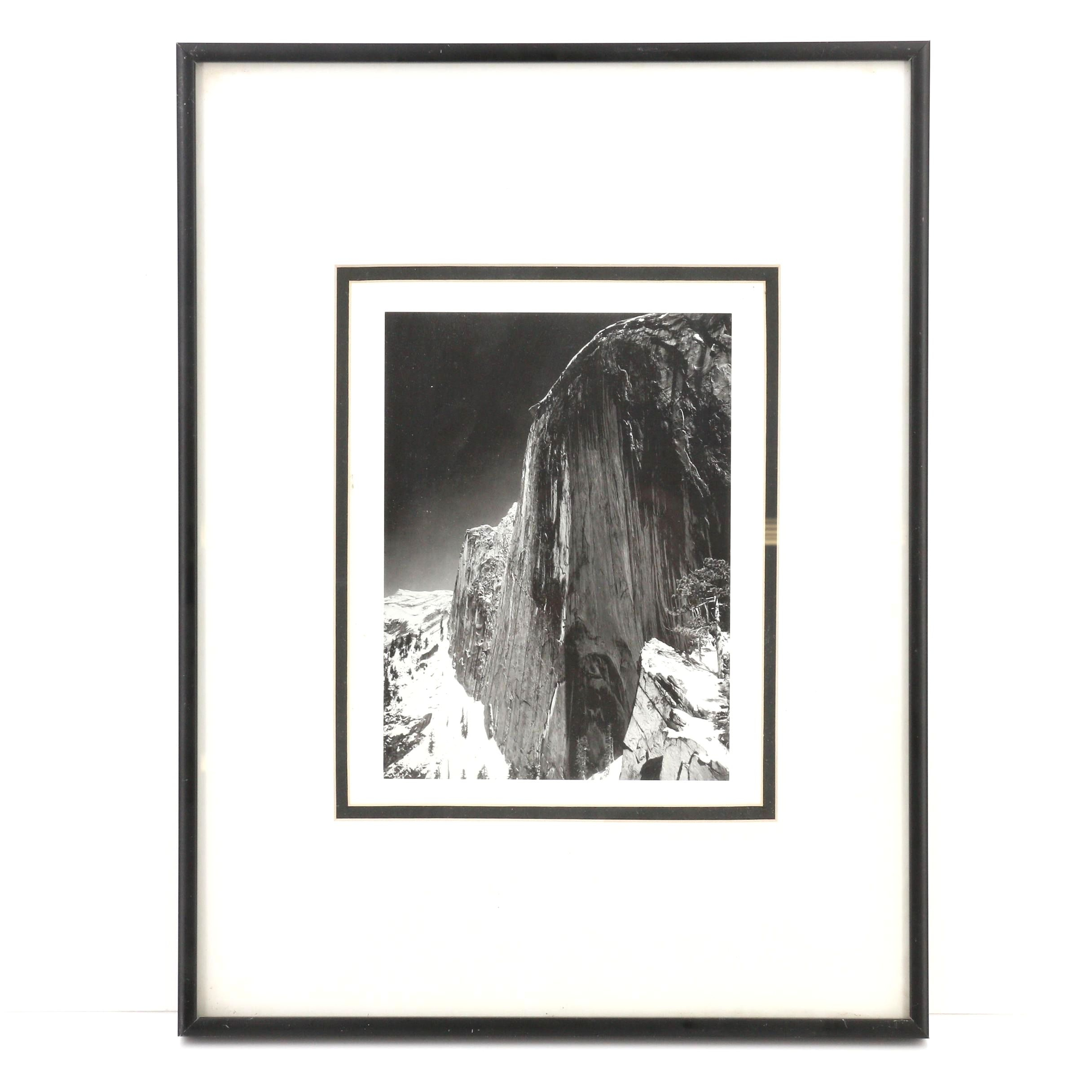 """Framed Ansel Adams Reproduction of """"Monolith, The Face of Half Dome"""""""