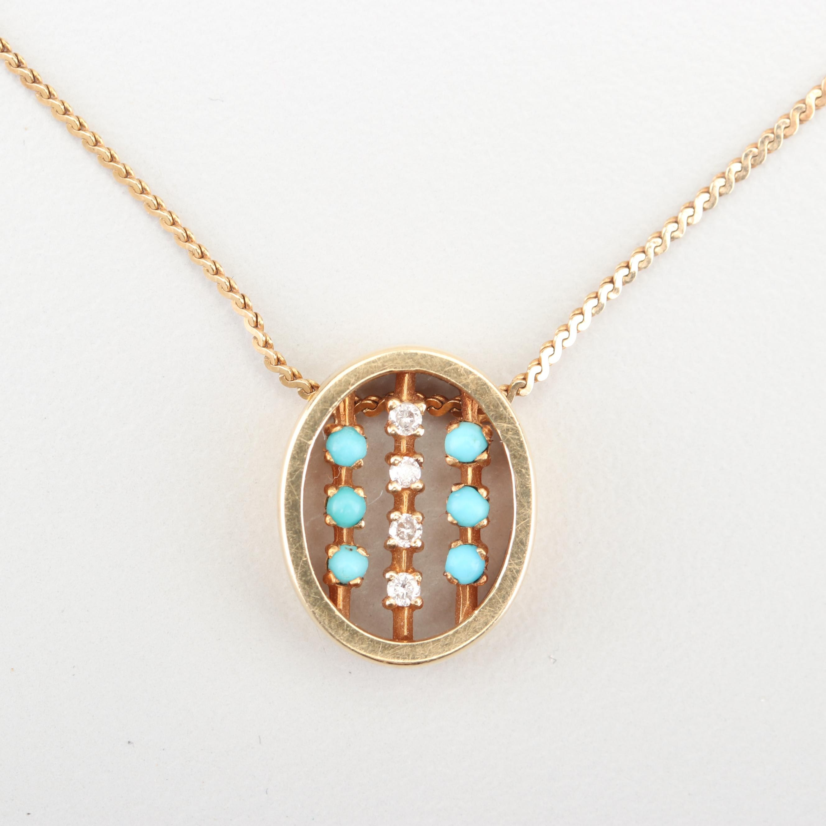 14K Yellow Gold Diamond and Turquoise Pendant Necklace