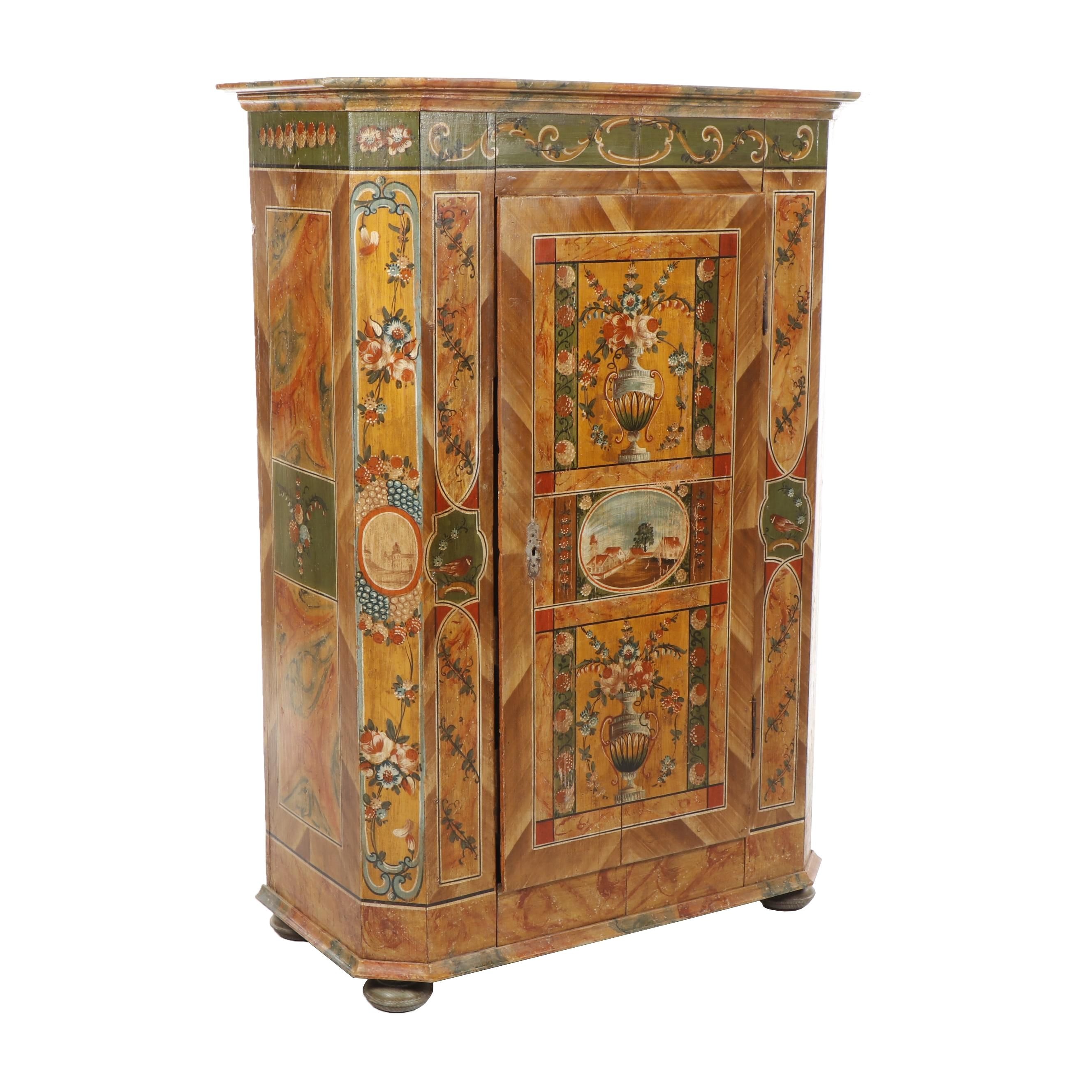 Scandinavian Ornate Hand-Painted Pine Armoire, 1860-1870s