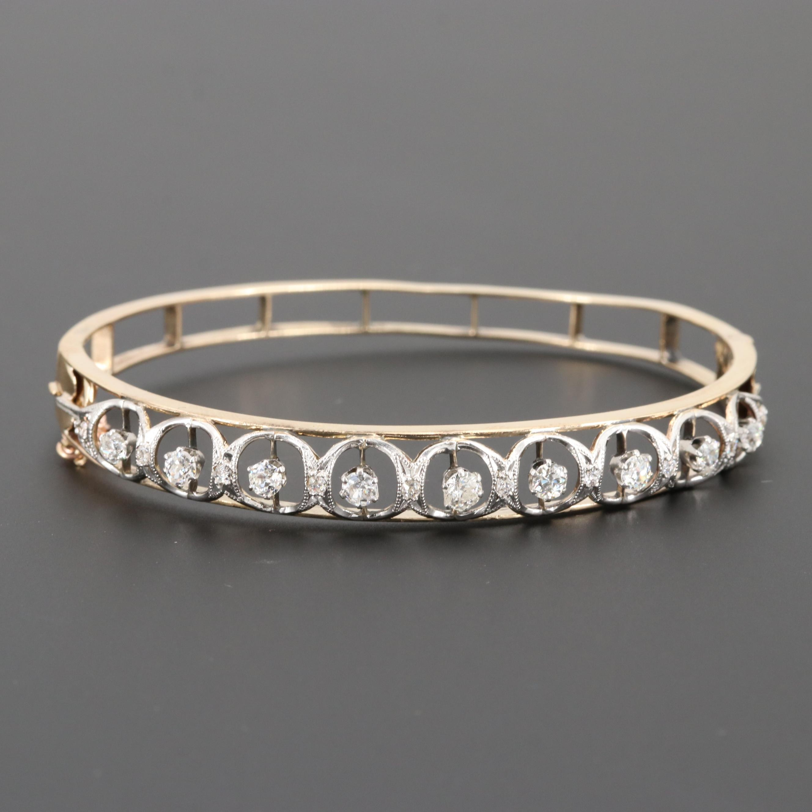 Antique 14K Yellow Gold and Platinum 1.66 CTW Diamond Hinged Bangle Bracelet