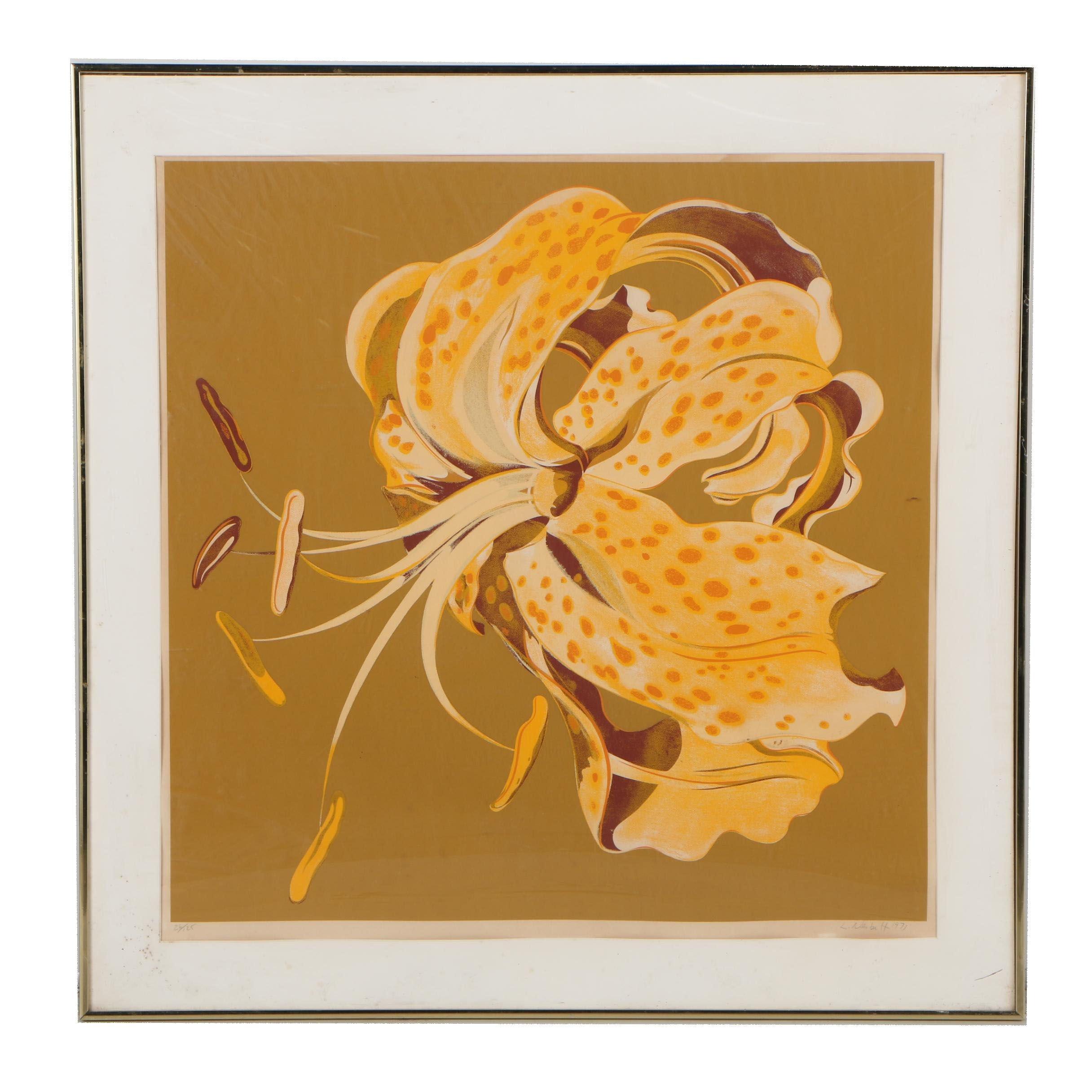 "Lowell Nesbitt Serigraph ""Tiger Lily"", 1971"