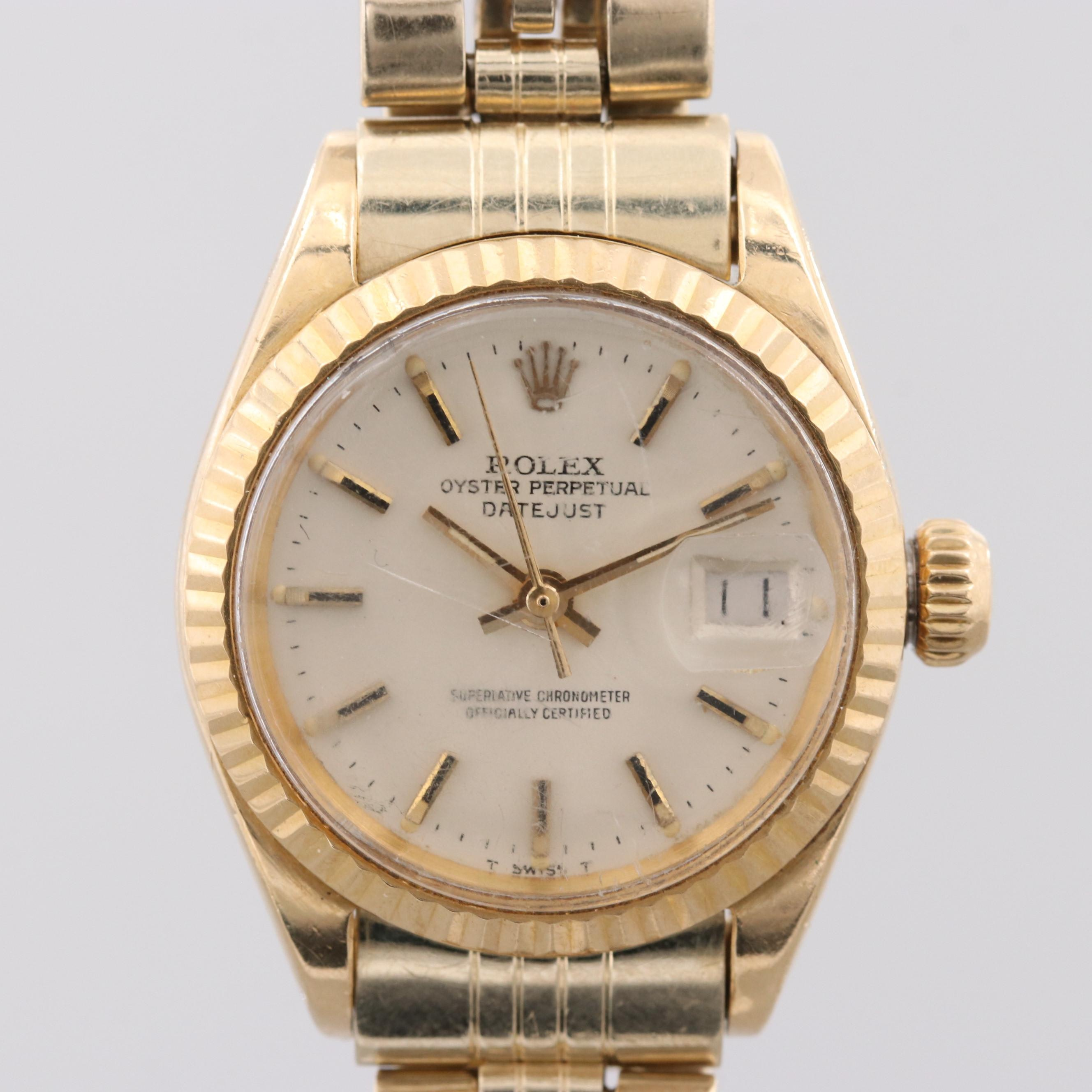Rolex Datejust 18K Yellow Gold Wristwatch With 14K Jubilee Bracelet, 1971