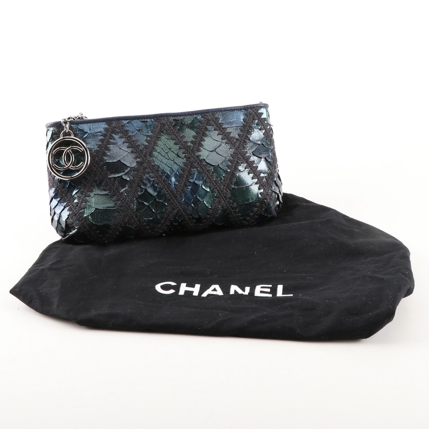 15ae9c3abfe5 Chanel Iridescent Blue Python Skin, Crochet and Leather Clutch Purse : EBTH