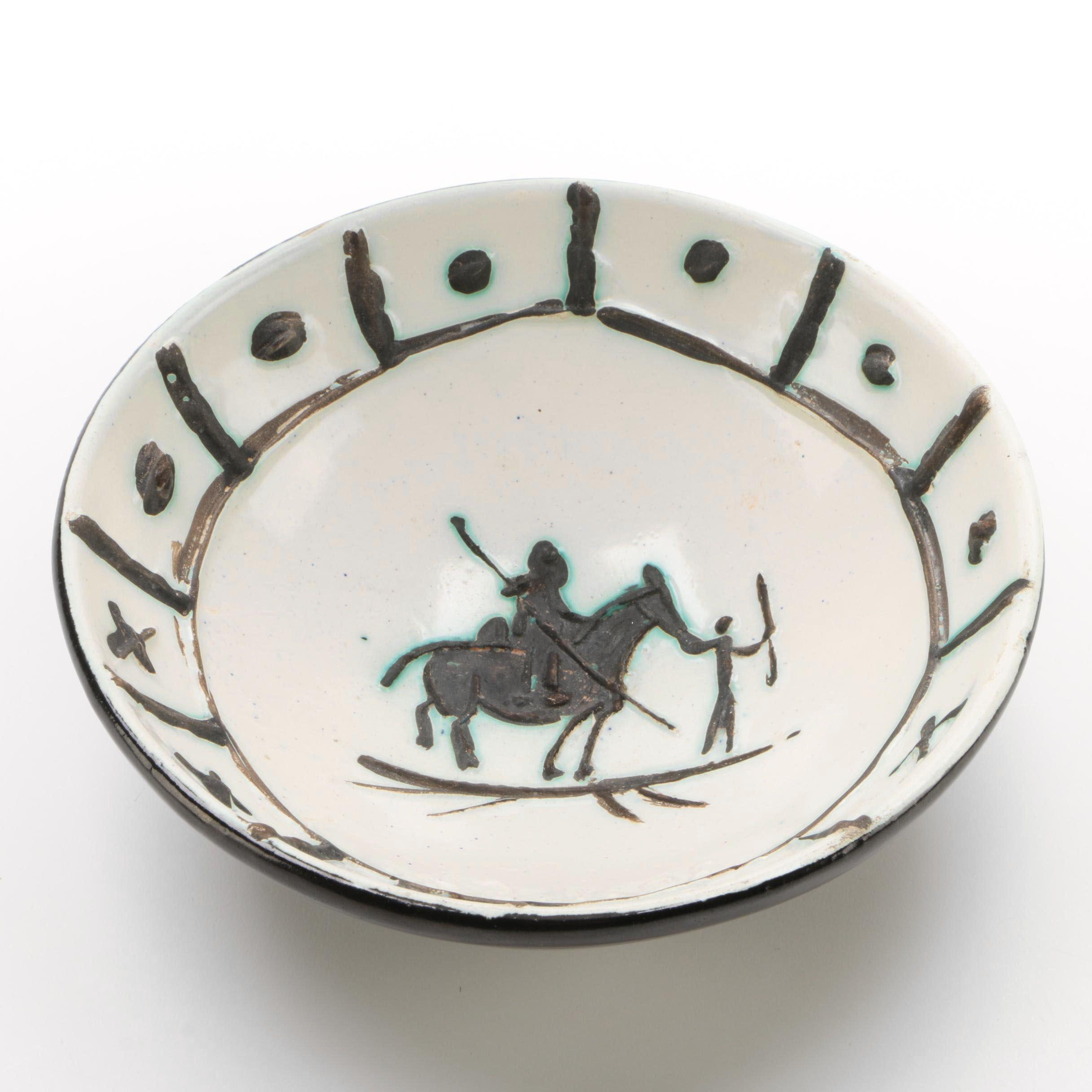 """Pablo Picasso Madoura 1954 Glazed Ceramic Bowl """"Picador"""""""