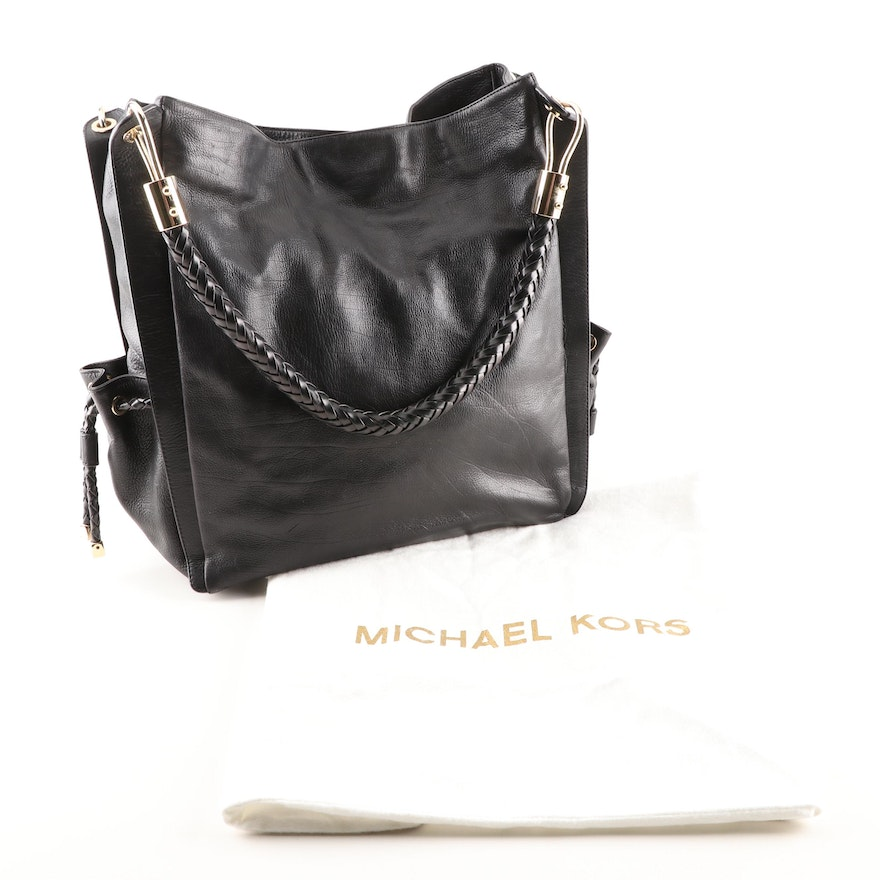 b5c14cff9ae5 Michael Kors Black Leather Tote Shoulder Bag with Braided Strap : EBTH