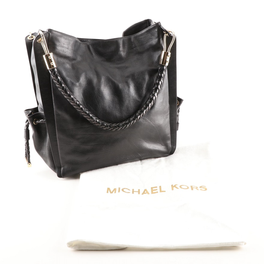 05554136fd Michael Kors Black Leather Tote Shoulder Bag with Braided Strap   EBTH