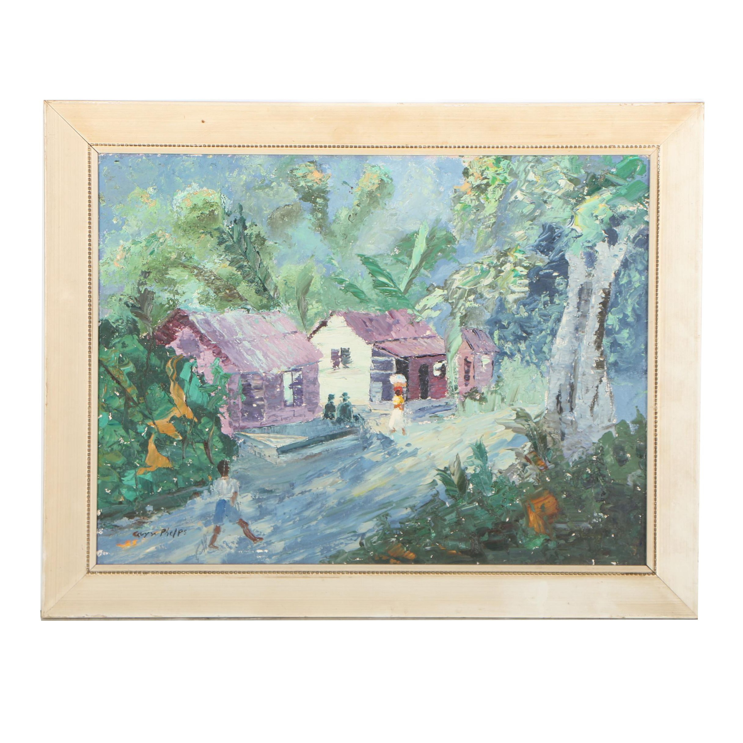 Guy W. Phelps Oil Painting of Jamaican Landscape