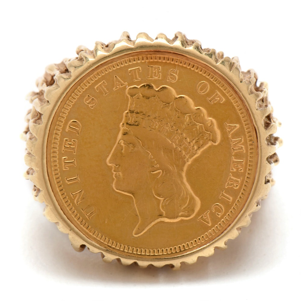 14K Yellow Gold Ring Featuring 1882 Indian Princess Head $3 Gold Coin