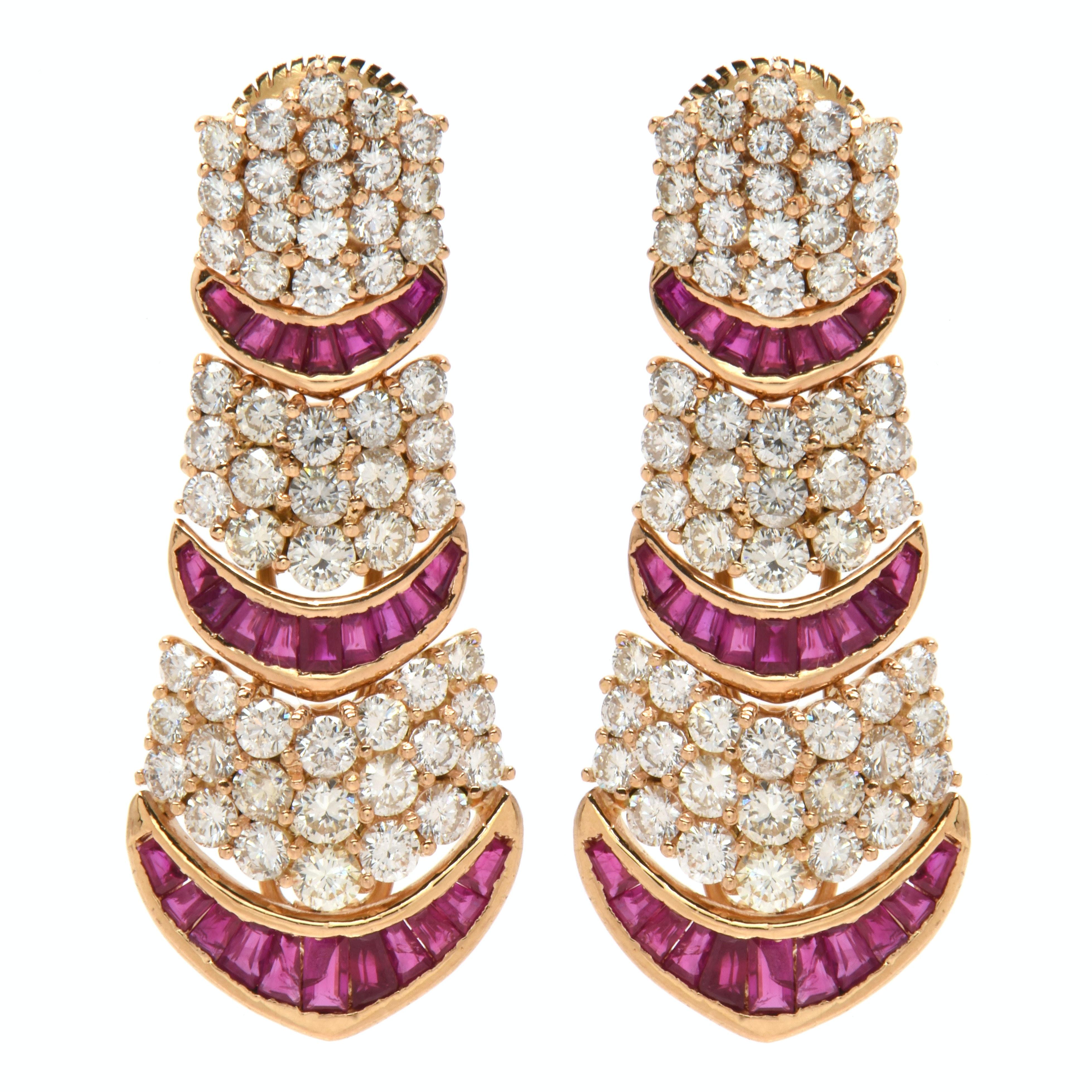 18K Yellow Gold Ruby and 6.05 CTW Diamond Custom Made Drop Earrings