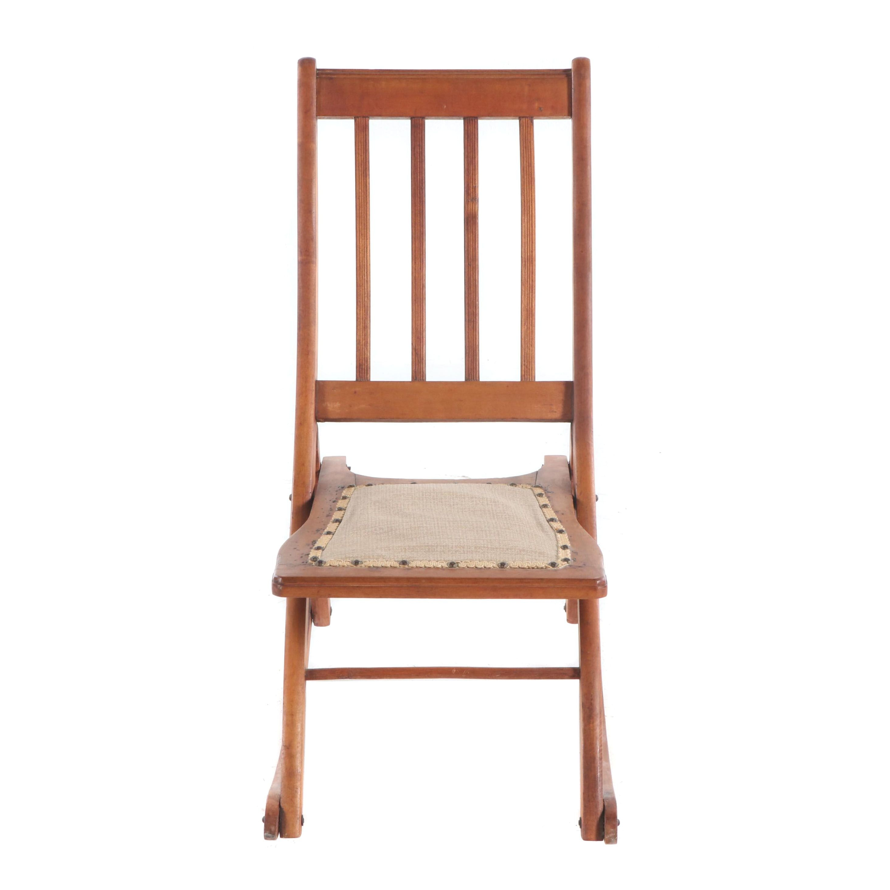 Antique Folding Wooden Rocking Chair