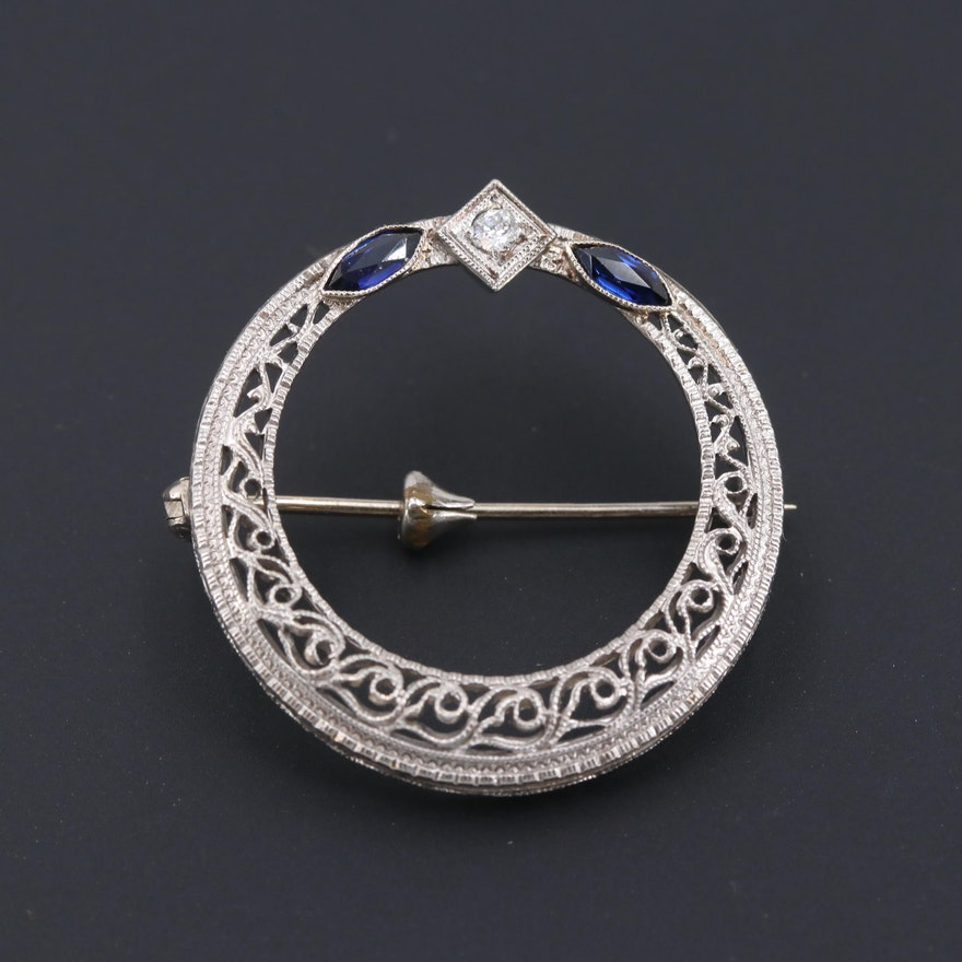 Vintage Platinum and 14K White Gold Diamond and Synthetic Sapphire Circle Brooch