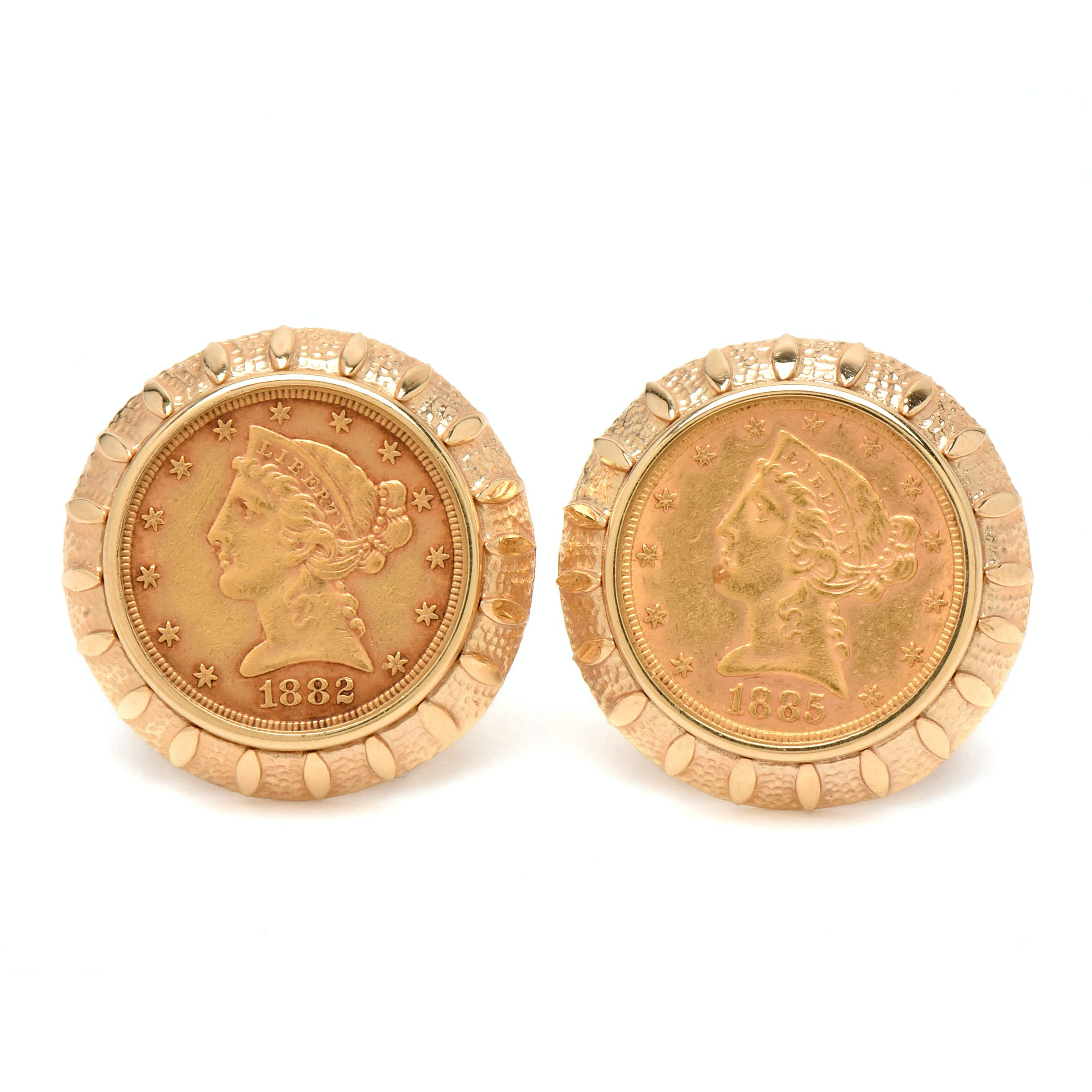 14K Yellow Gold Cufflinks with 1882 and 1885-S $5 Liberty Head Gold Coins