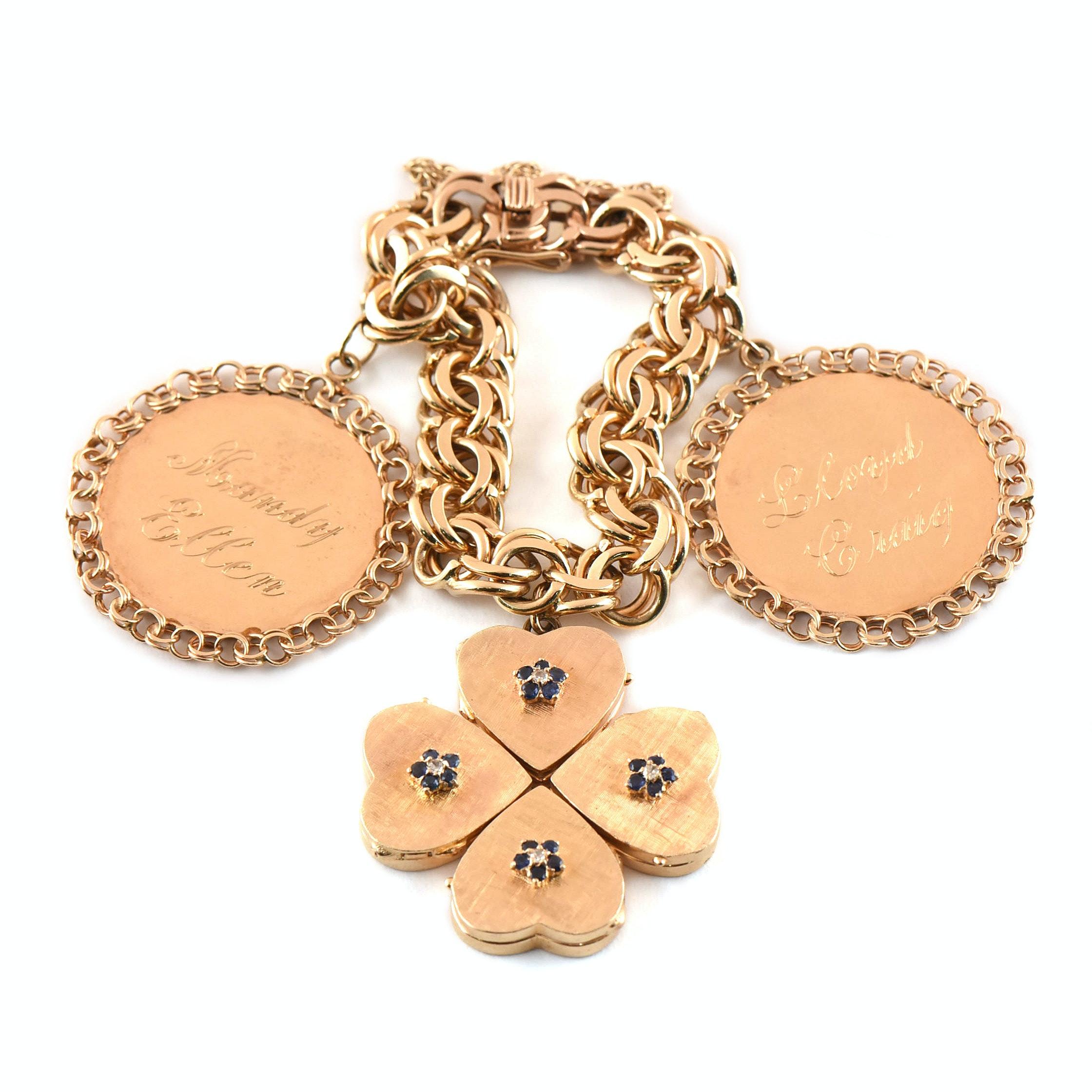 Vintage 14K Yellow Gold Bracelet with Sapphire and Diamond Shamrock Locket Charm