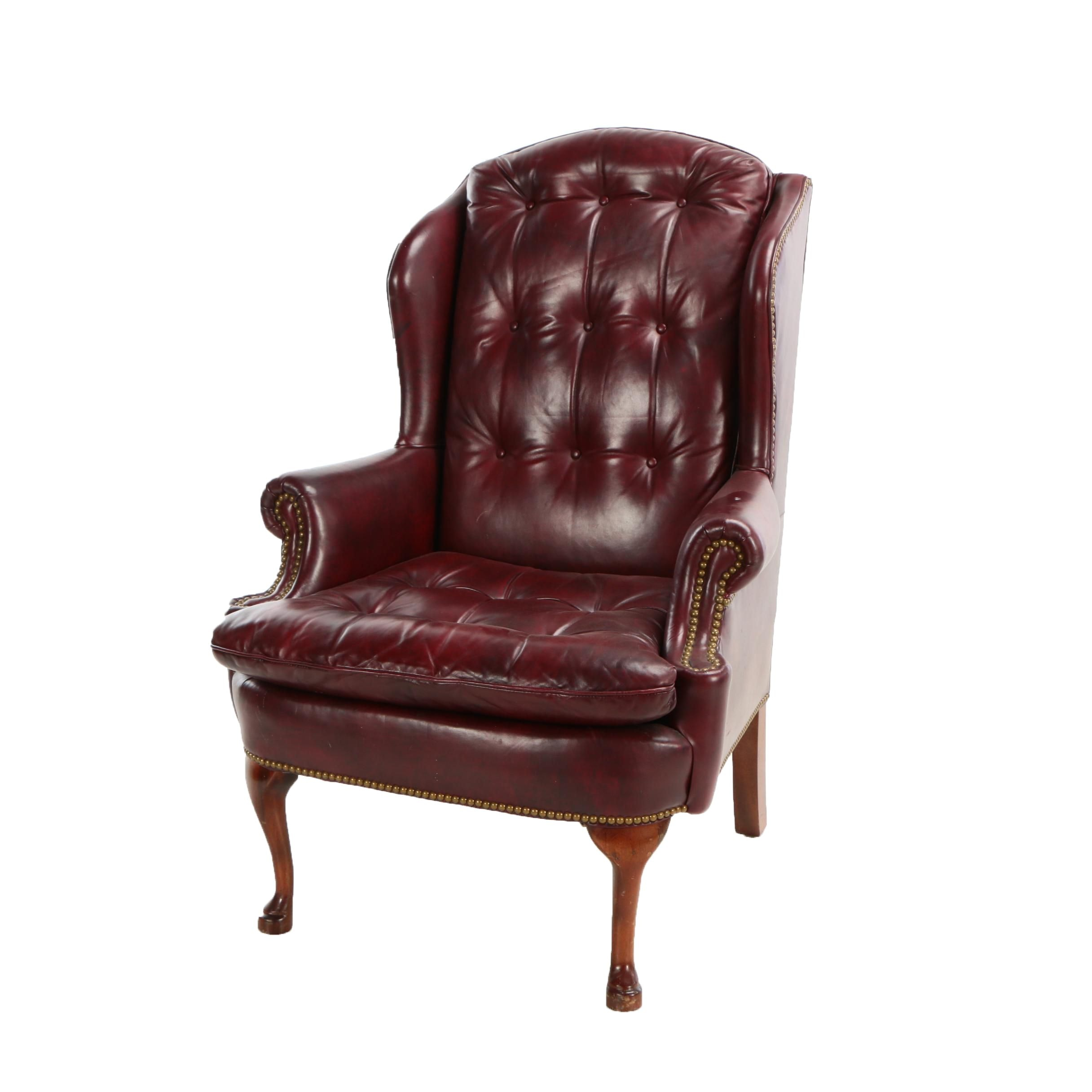 Contemporary Hancock & Moore Tufted Leather Wingback Chair