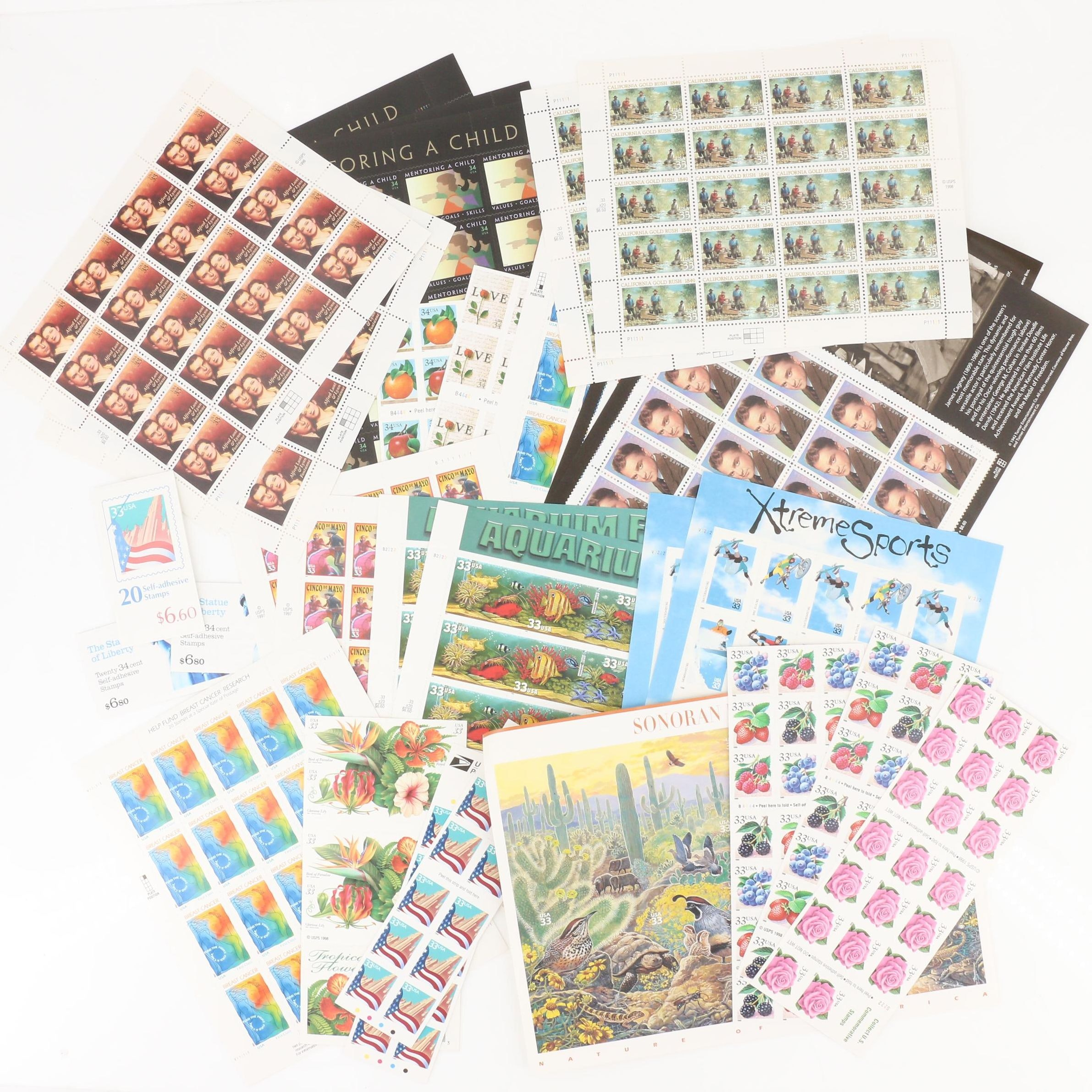 Group of 28 U.S. Postage Stamp Sheets and Books