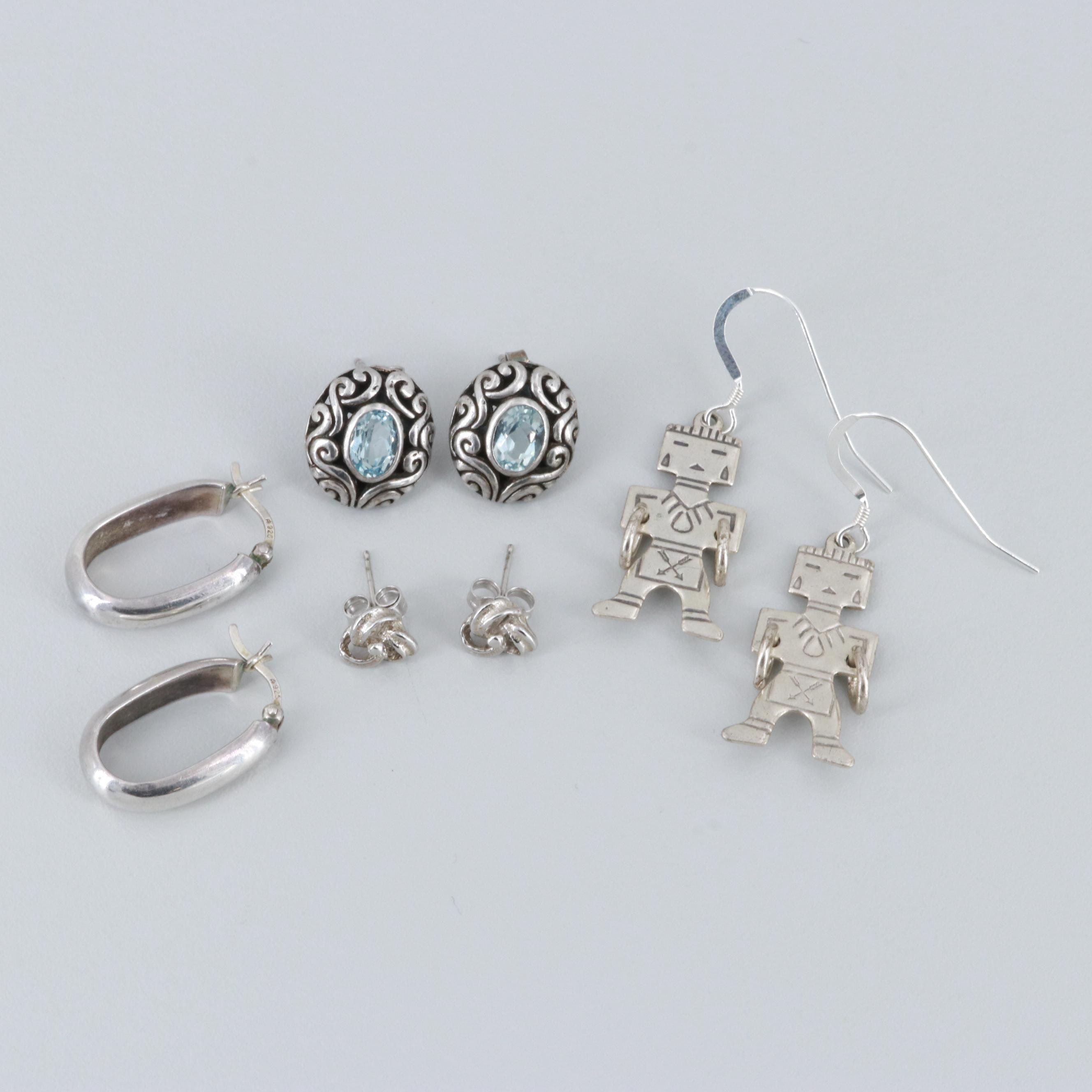 Sterling Silver Earrings and Silver Tone Knot Studs Including Blue Topaz