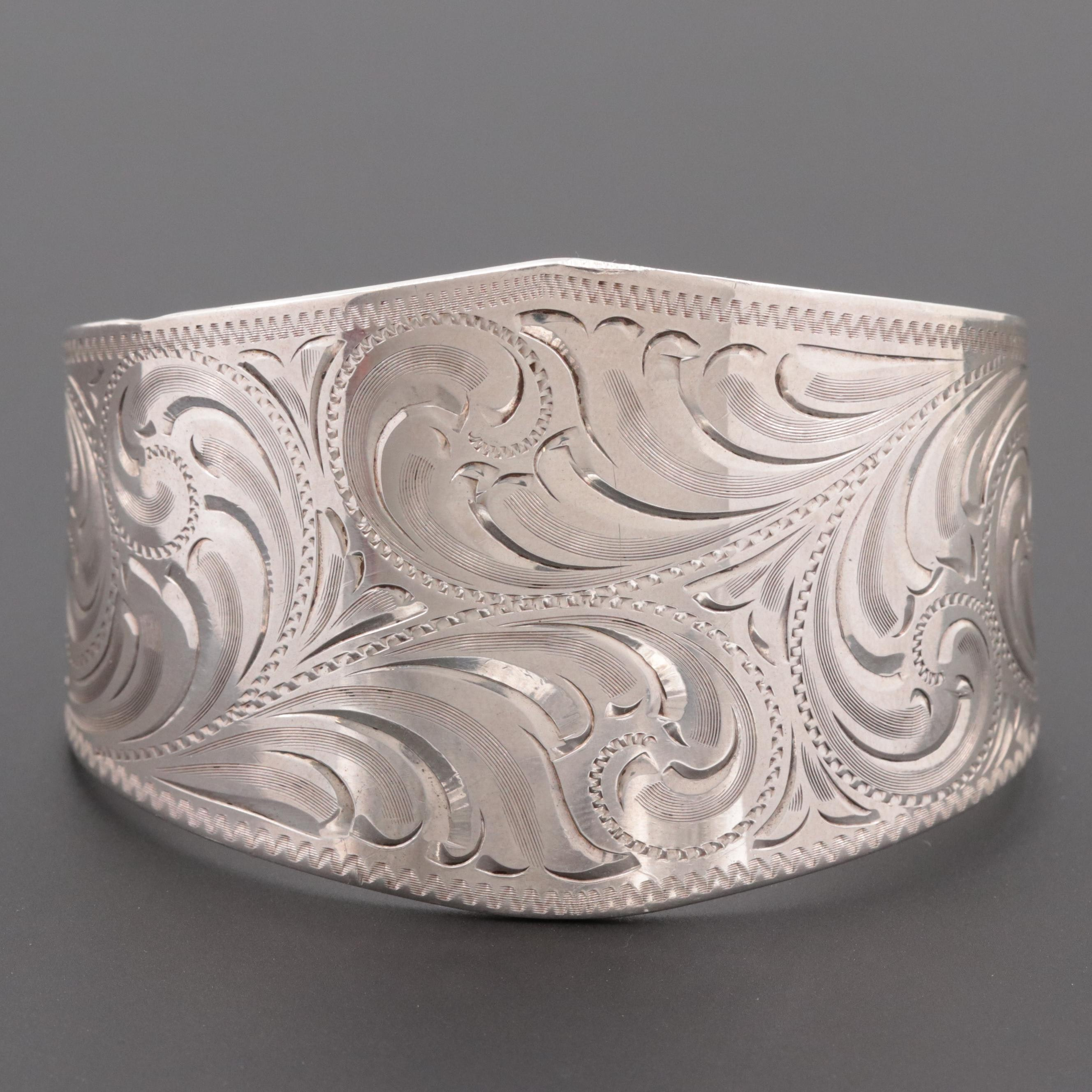 Smith Enterprises Sterling Silver Cuff Bracelet with Engraved Scrollwork