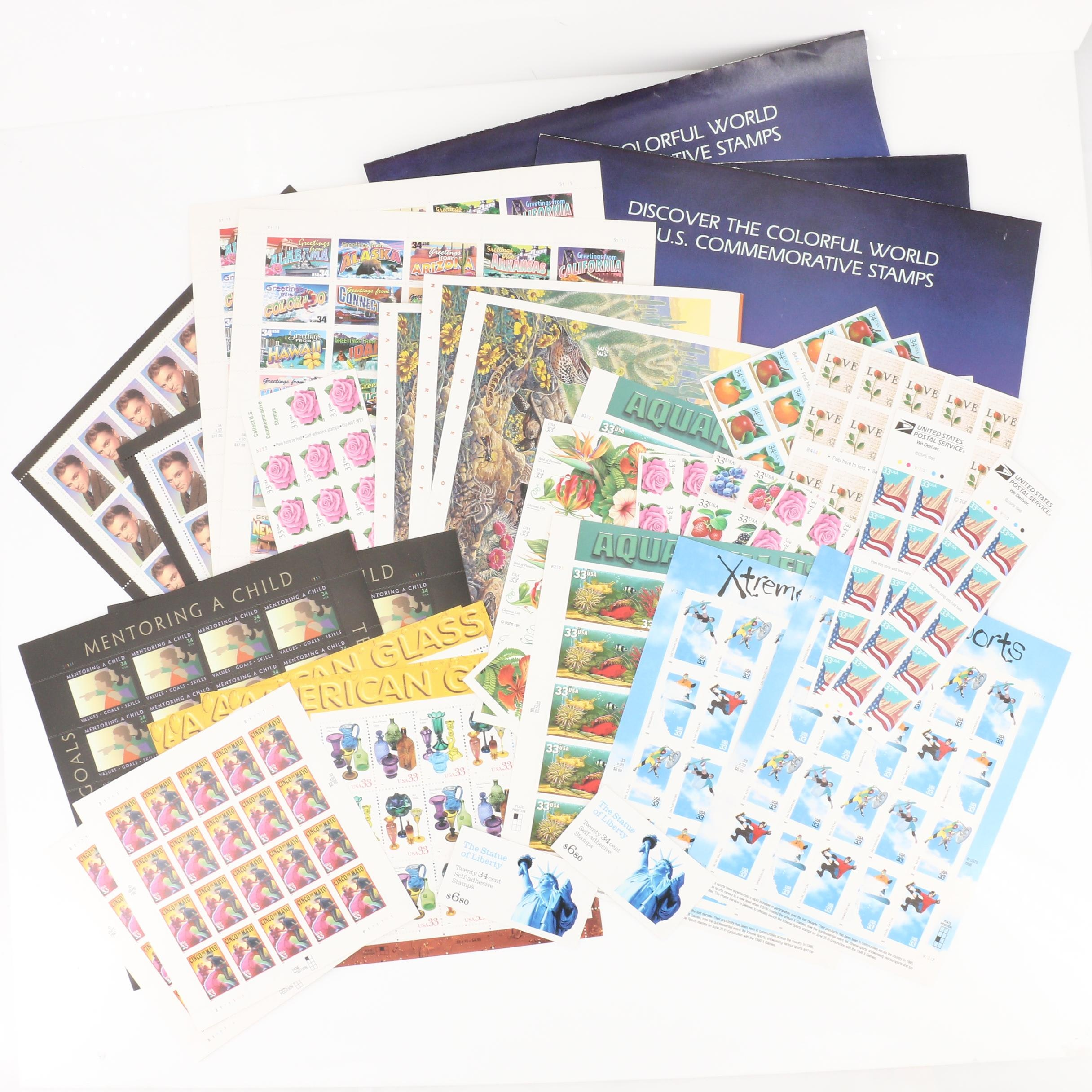 Group of 37 U.S. Postage Stamp Sheets and Books