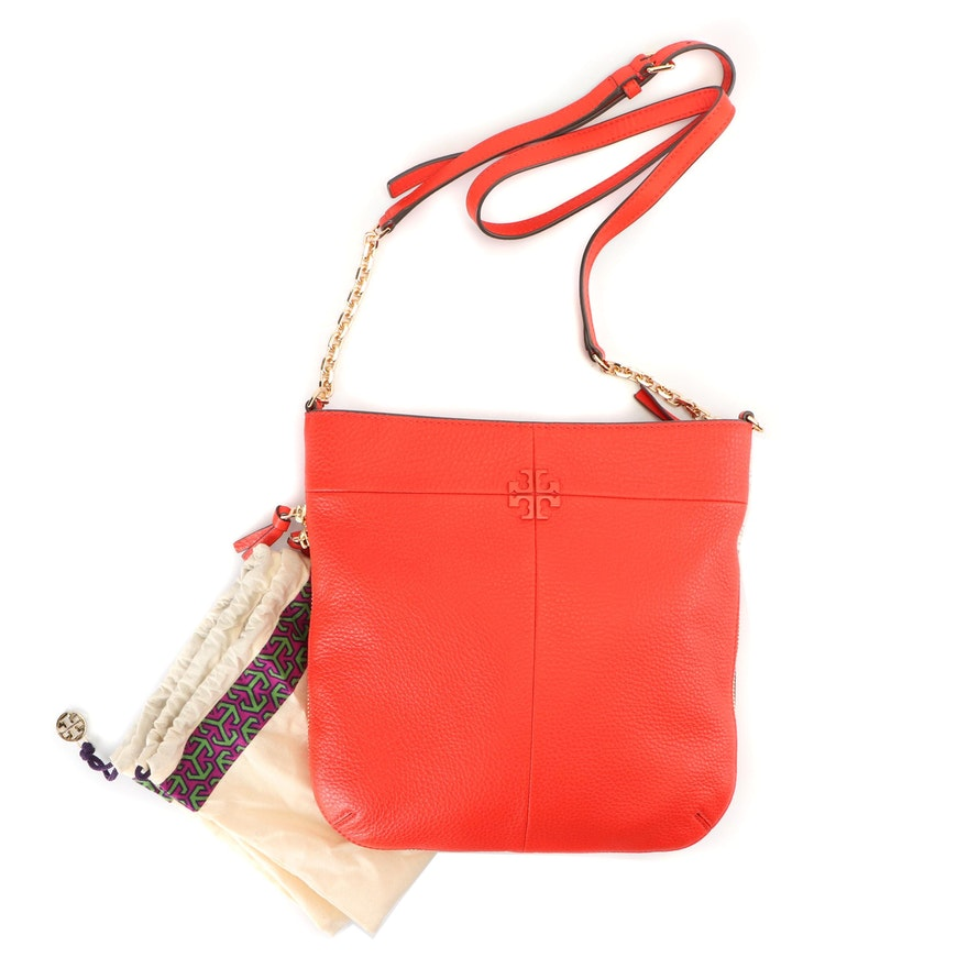 a1a95df5eb2f Tory Burch Samba Red Grained Leather Ivy Convertible Shoulder Bag   EBTH