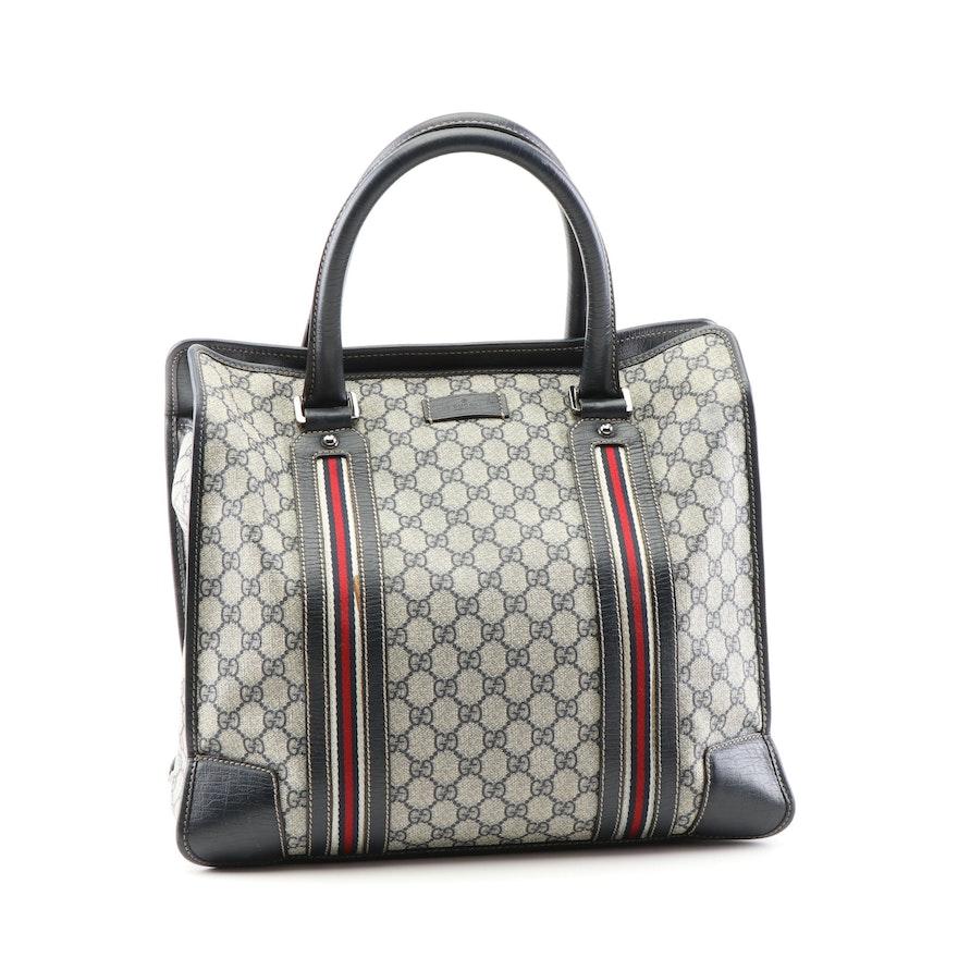 6a580d47237 Gucci Supreme Canvas and Leather Web Stripe Tote Bag
