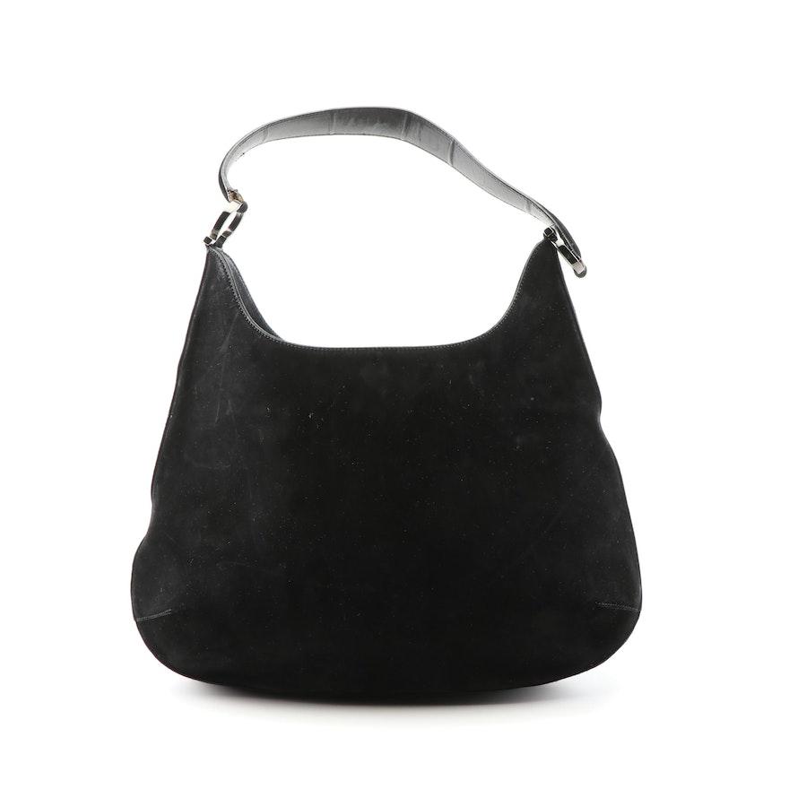 Salvatore Ferragamo Black Suede and Leather Hobo Handbag 9adbf58cf6438
