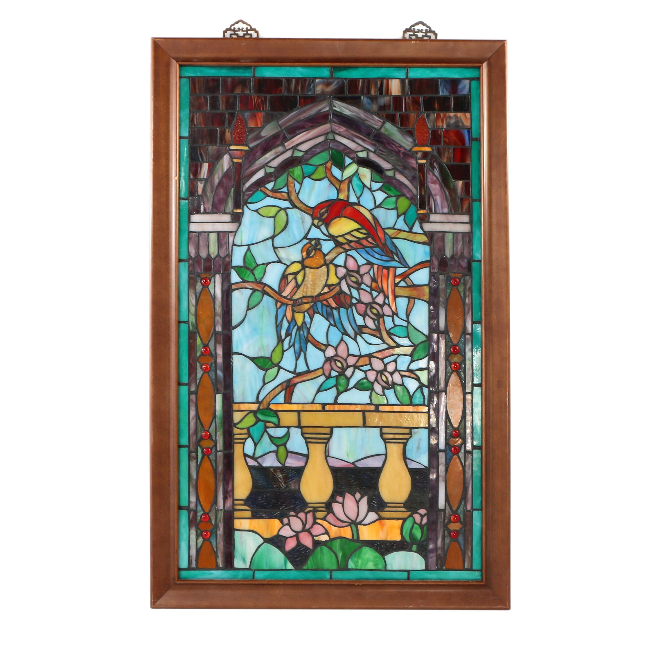 Framed Stained Glass Panel of Pair of Parrots