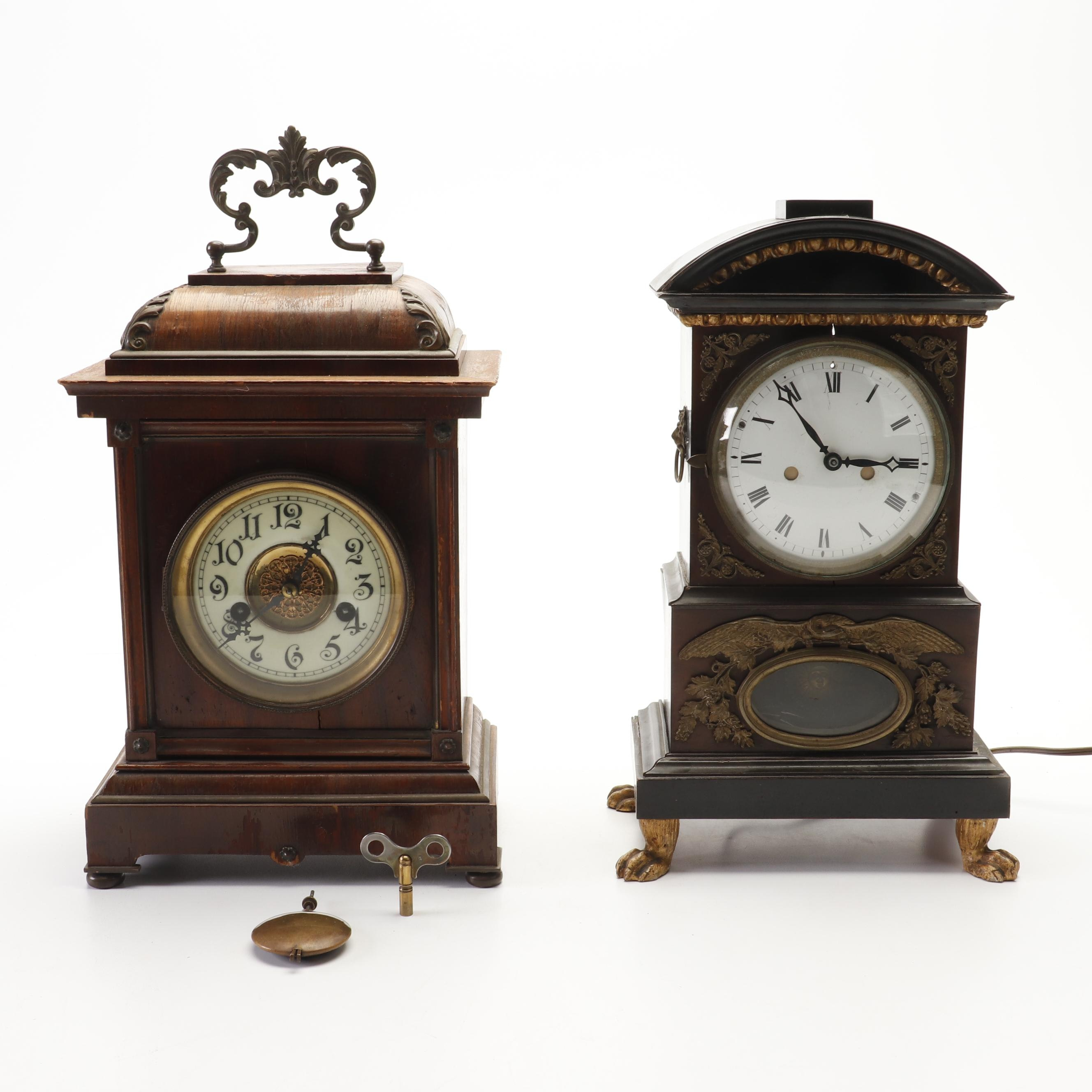 Walnut Veneered Early 20th Century Carriage Clock and Converted Mantel Clock
