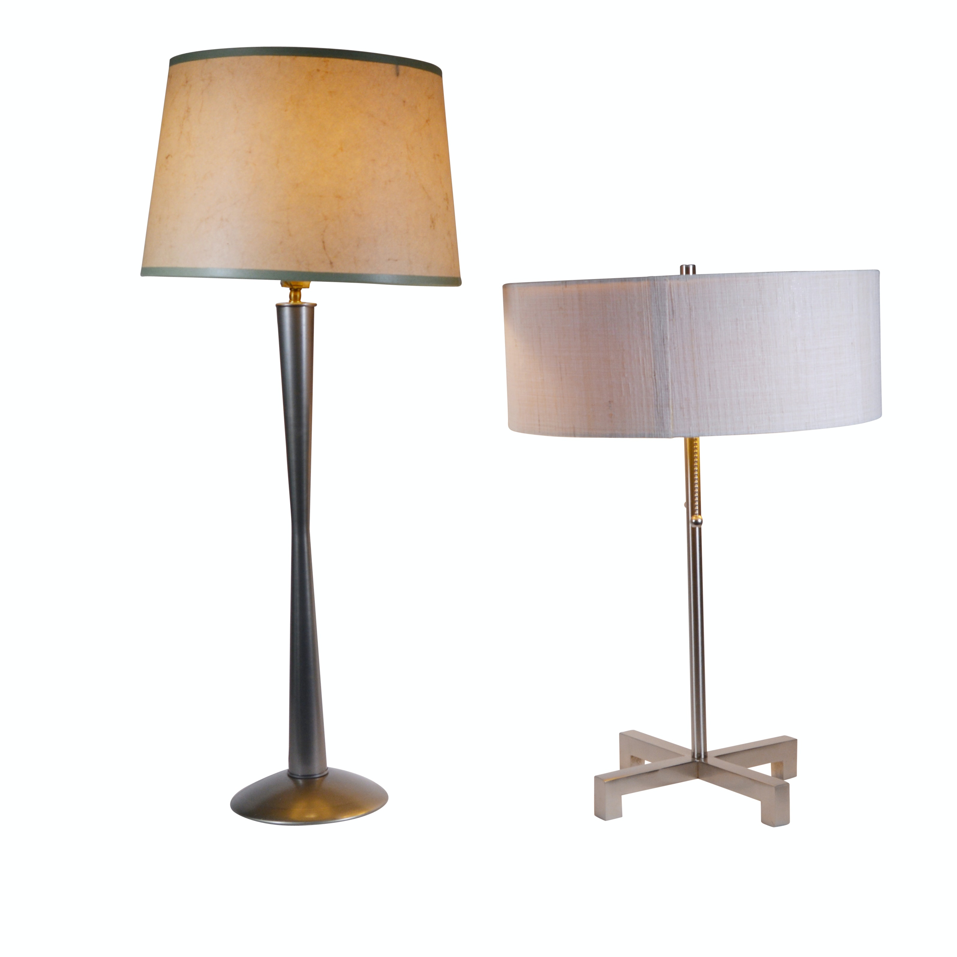 Two Contemporary Metal Table Lamps