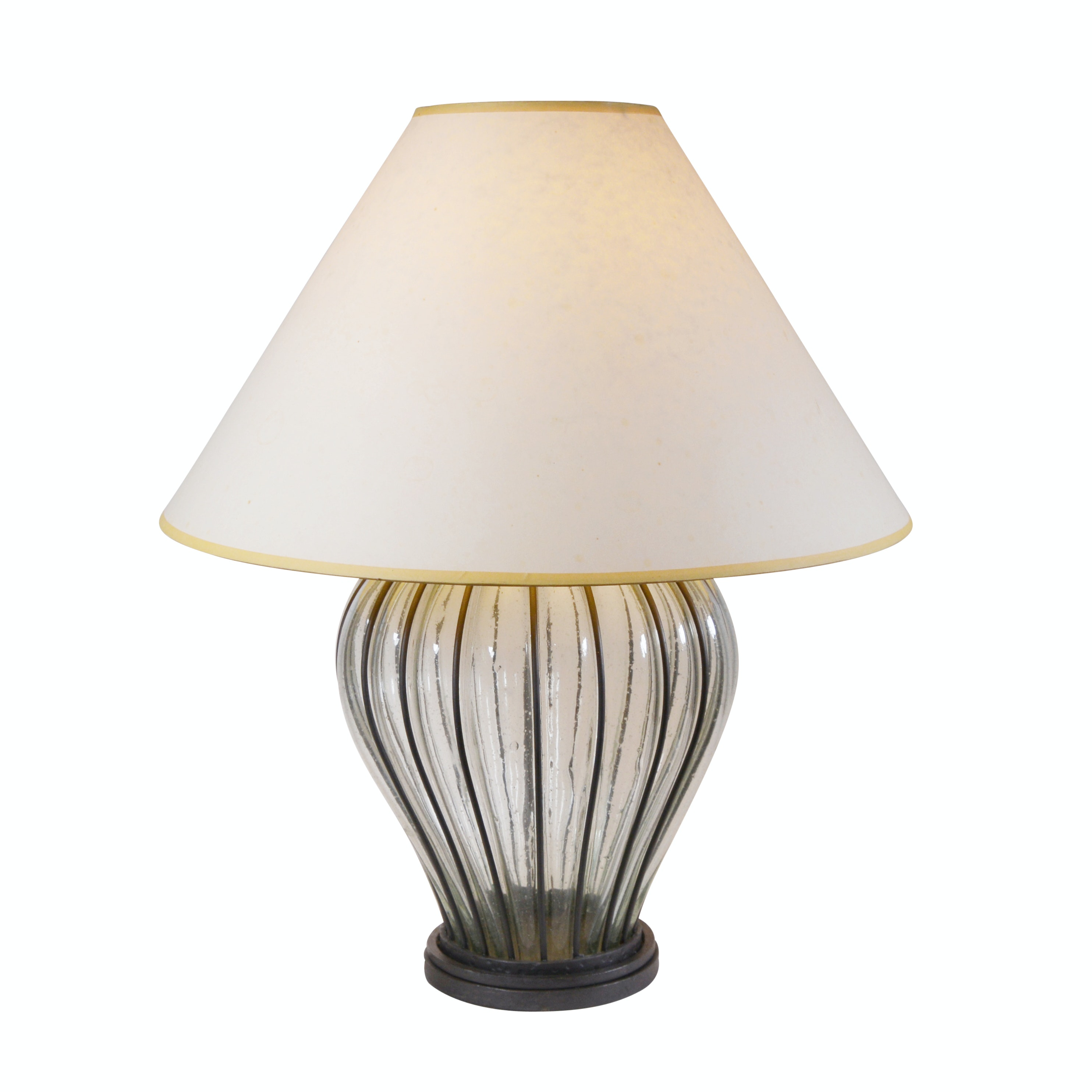Blown Glass and Metal Ribbed Table Lamp