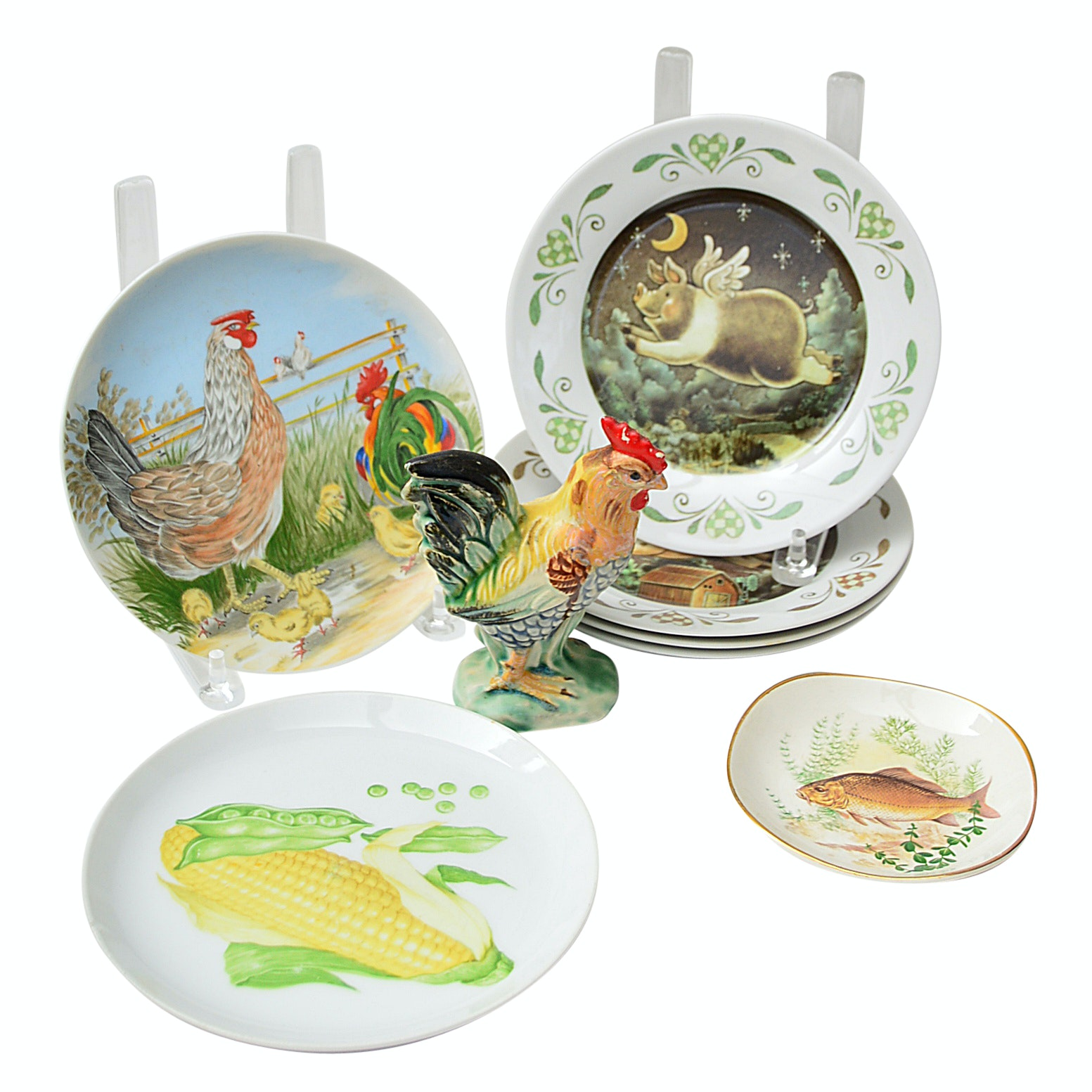 Set of Flying Pig Dessert Plates, Brooks Brothers Fish Plate and More