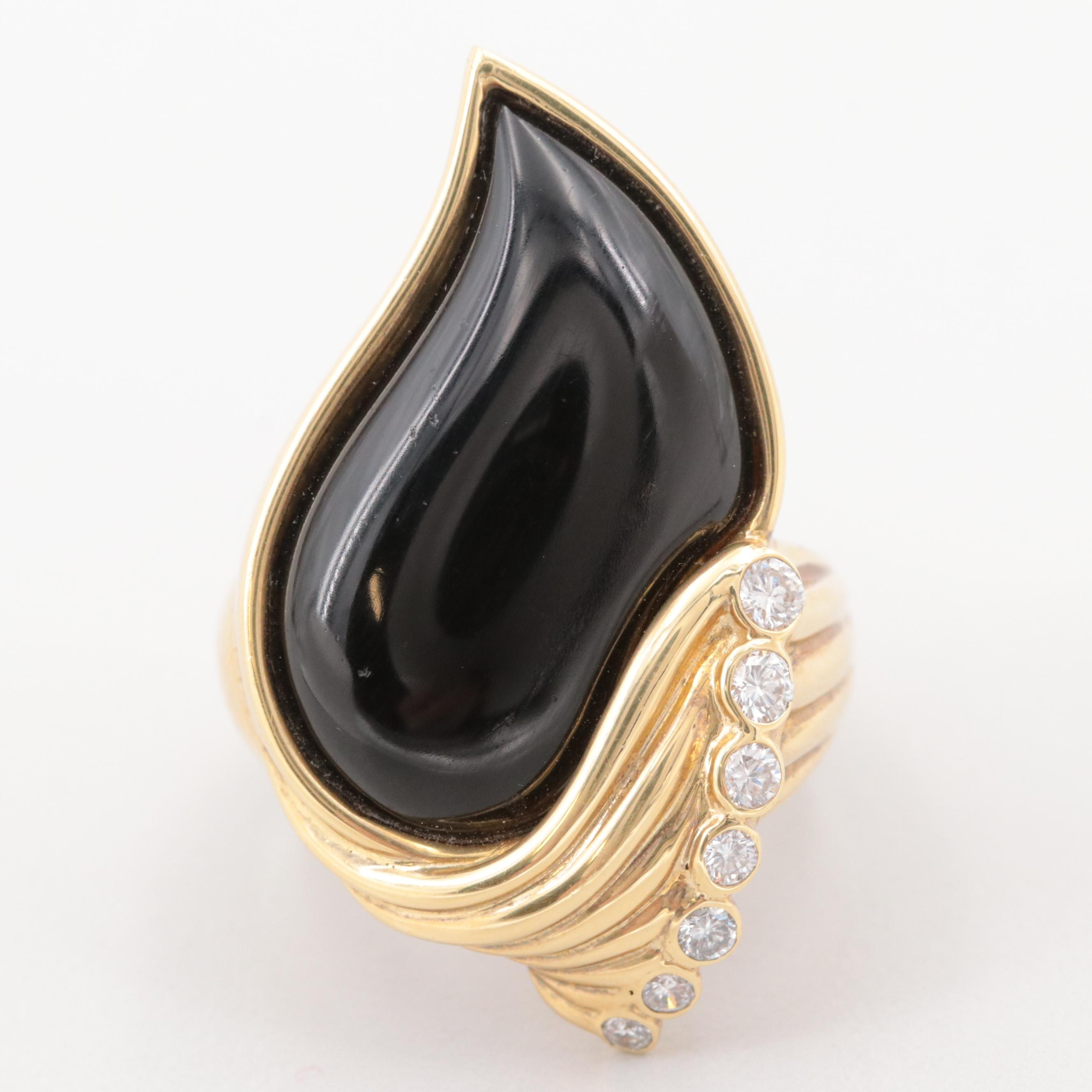 18K Yellow Gold Obsidian and Diamond Freefrom Ring