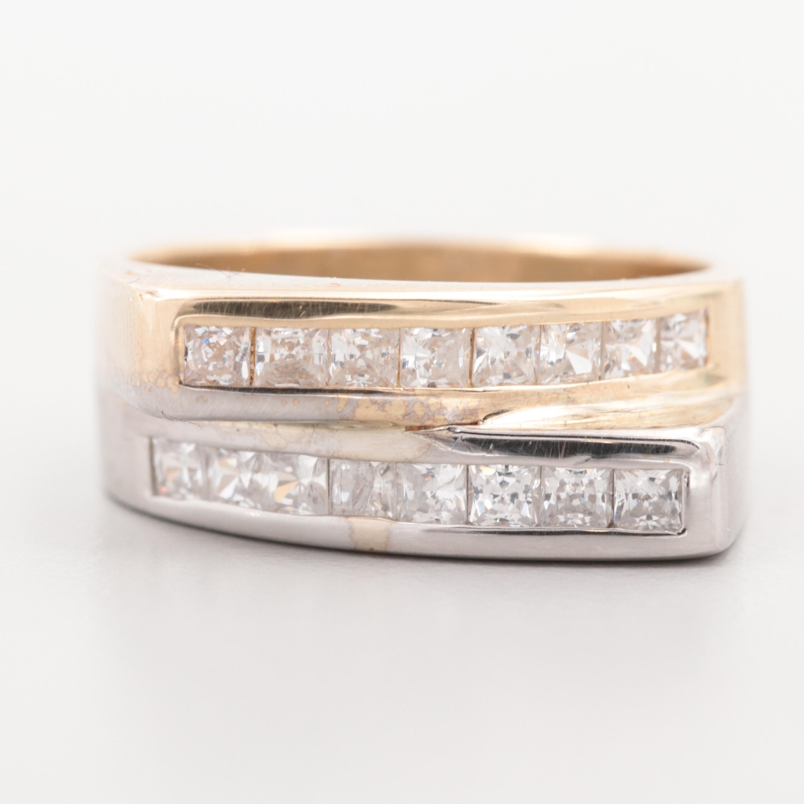 14K Yellow and White Gold Cubic Zirconia Bypass Ring
