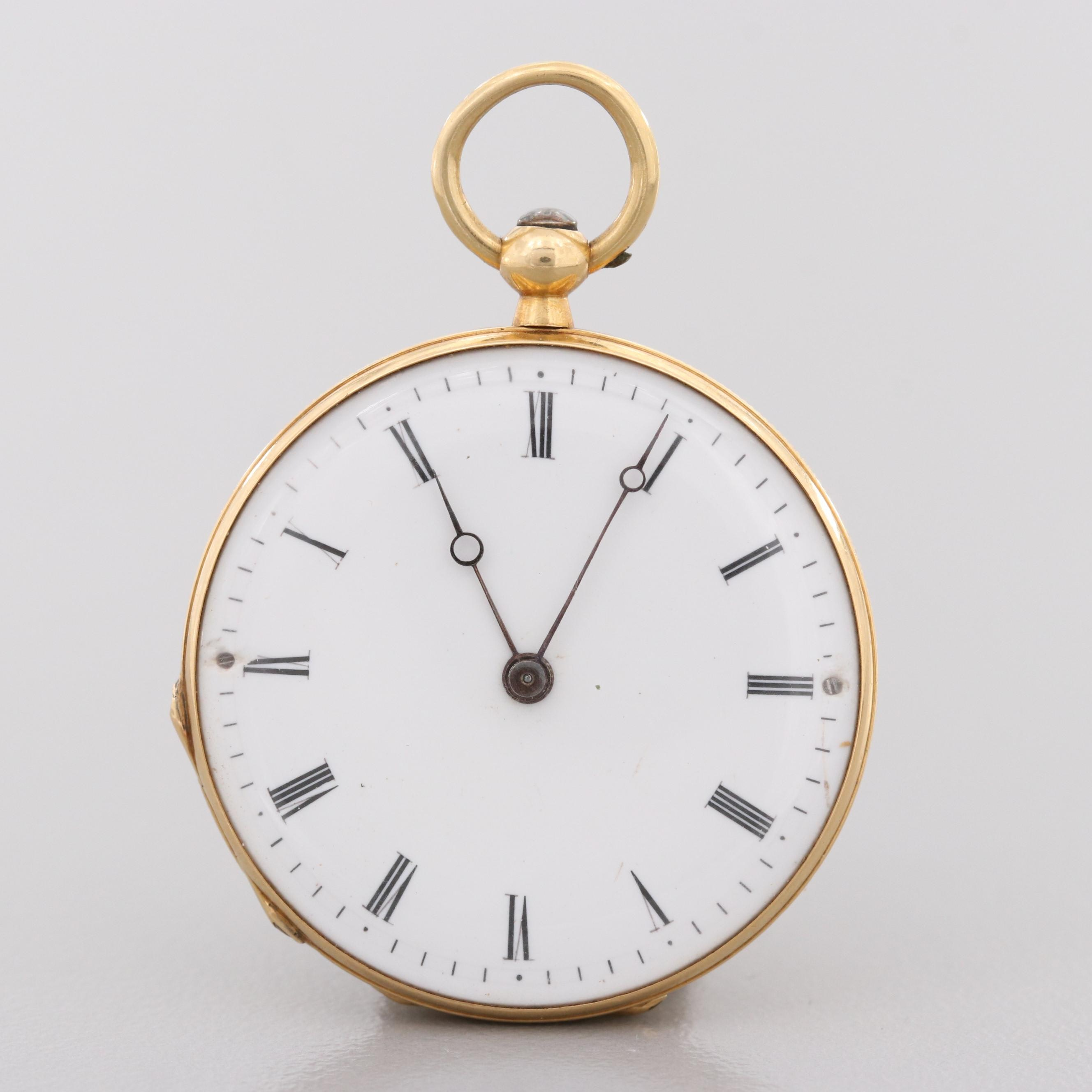 Antique André Brunet Enamel and 18K Yellow Gold Open Face Pocket Watch