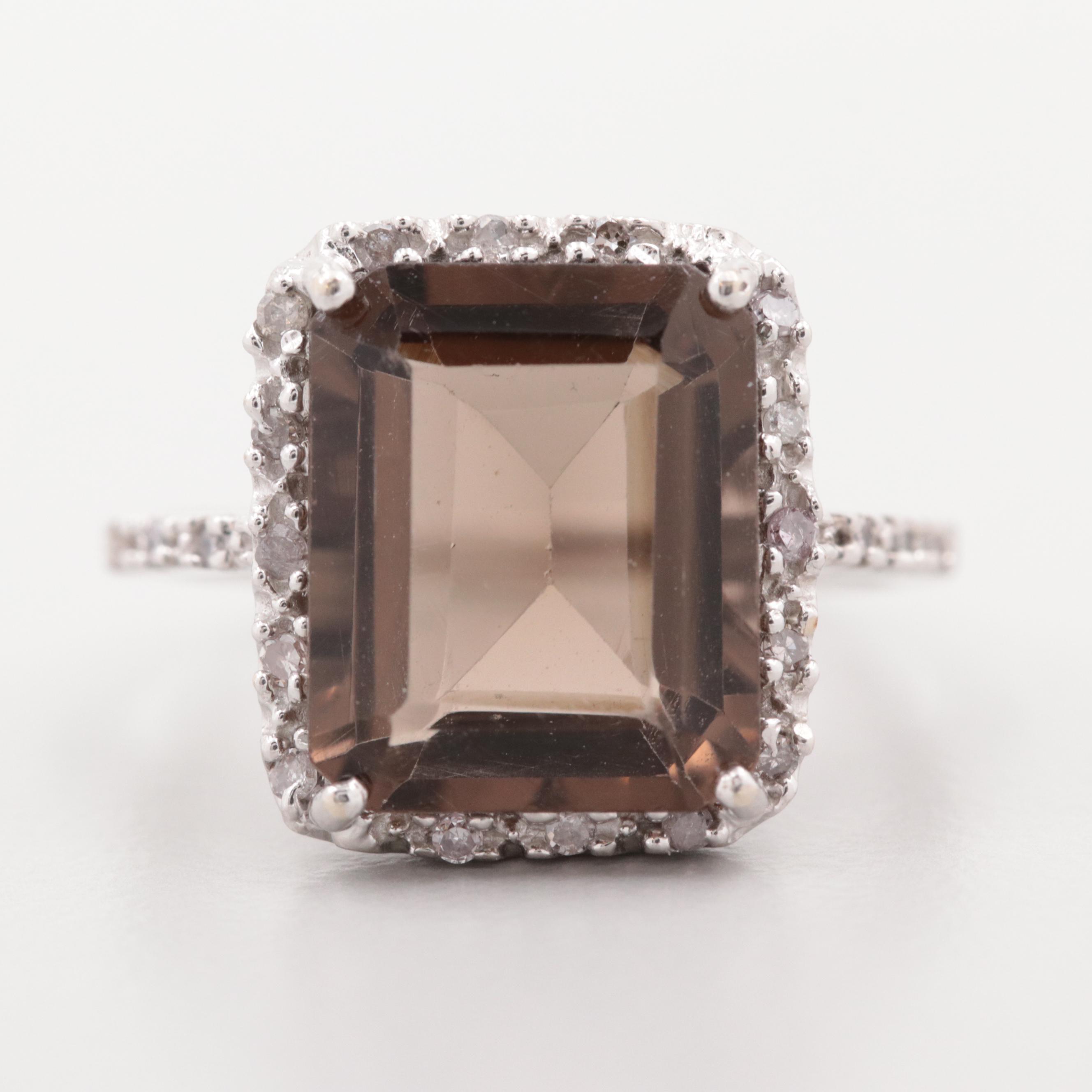 10K White Gold Smoky Quartz Ring with Diamond Halo
