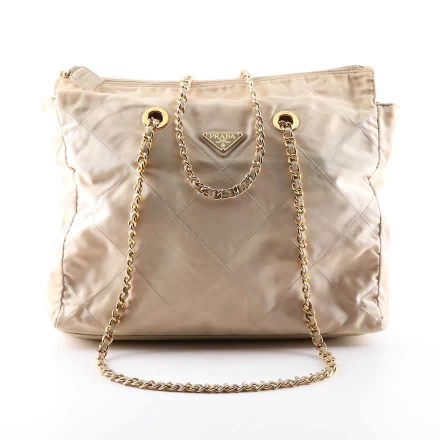 Prada Quilted Beige Nylon Tote Shoulder Bag   EBTH 58ca26cf8e0f3