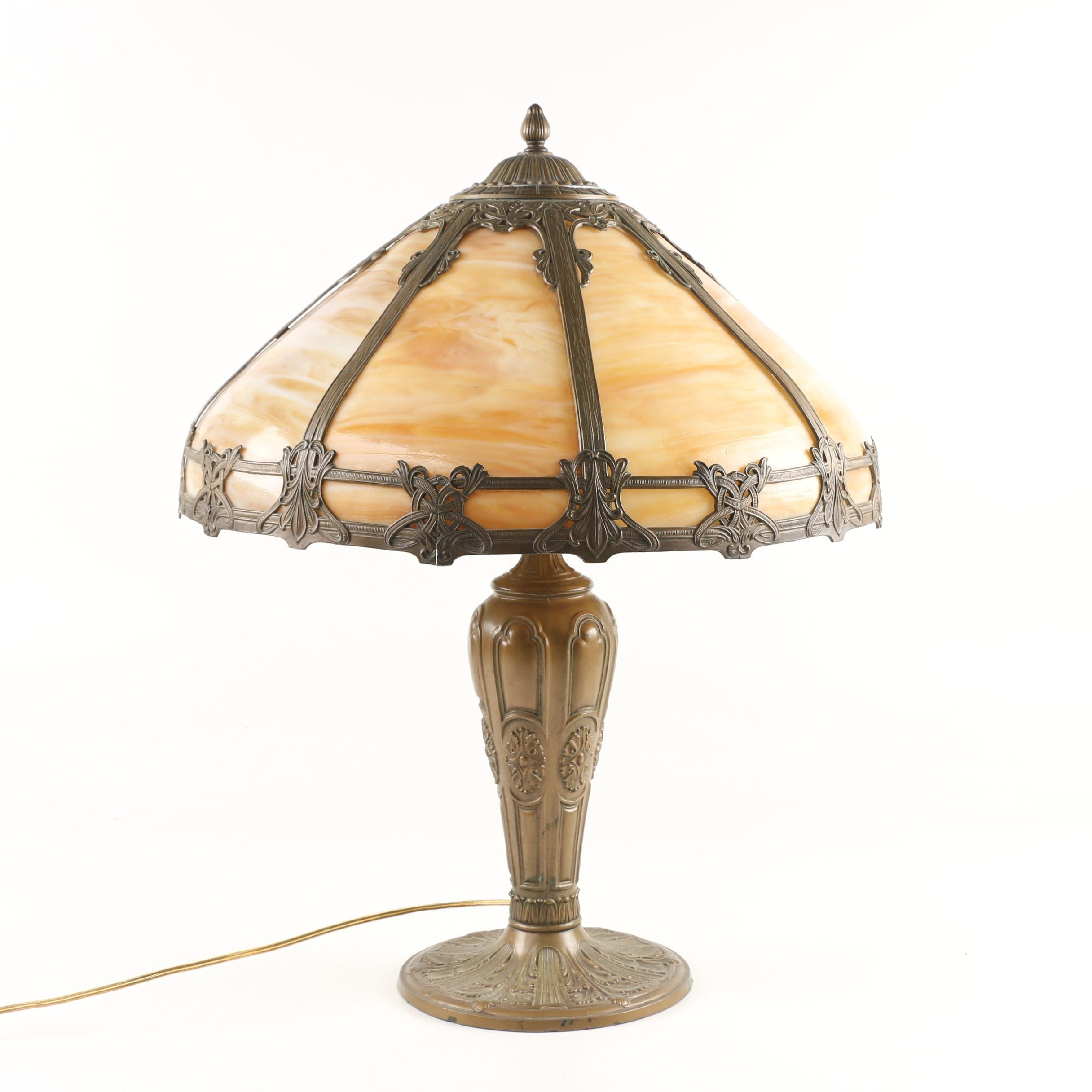 Painted Cast Metal Table Lamp with Slag Glass Shade