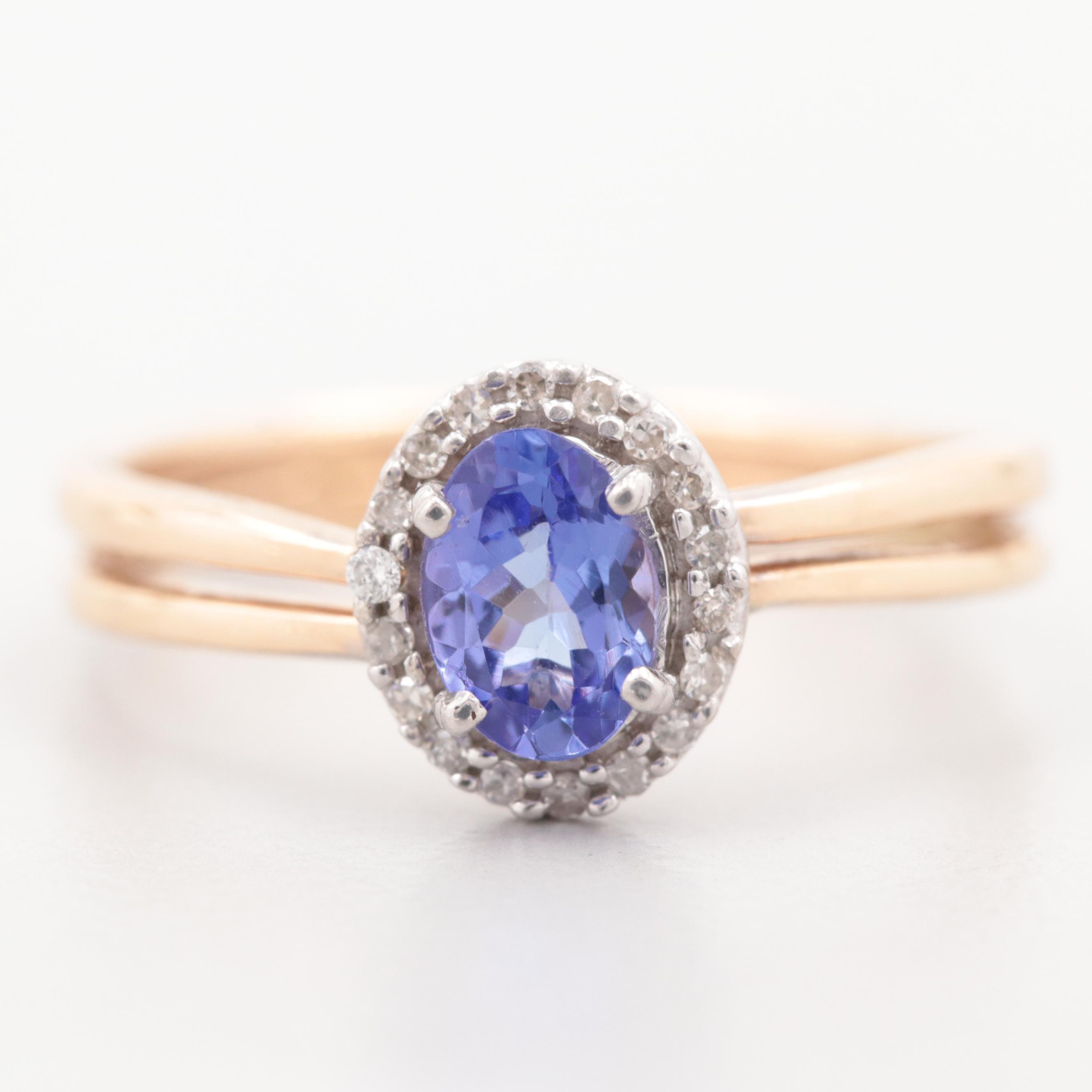 14K Yellow Gold Tanzanite Ring with Diamond Halo