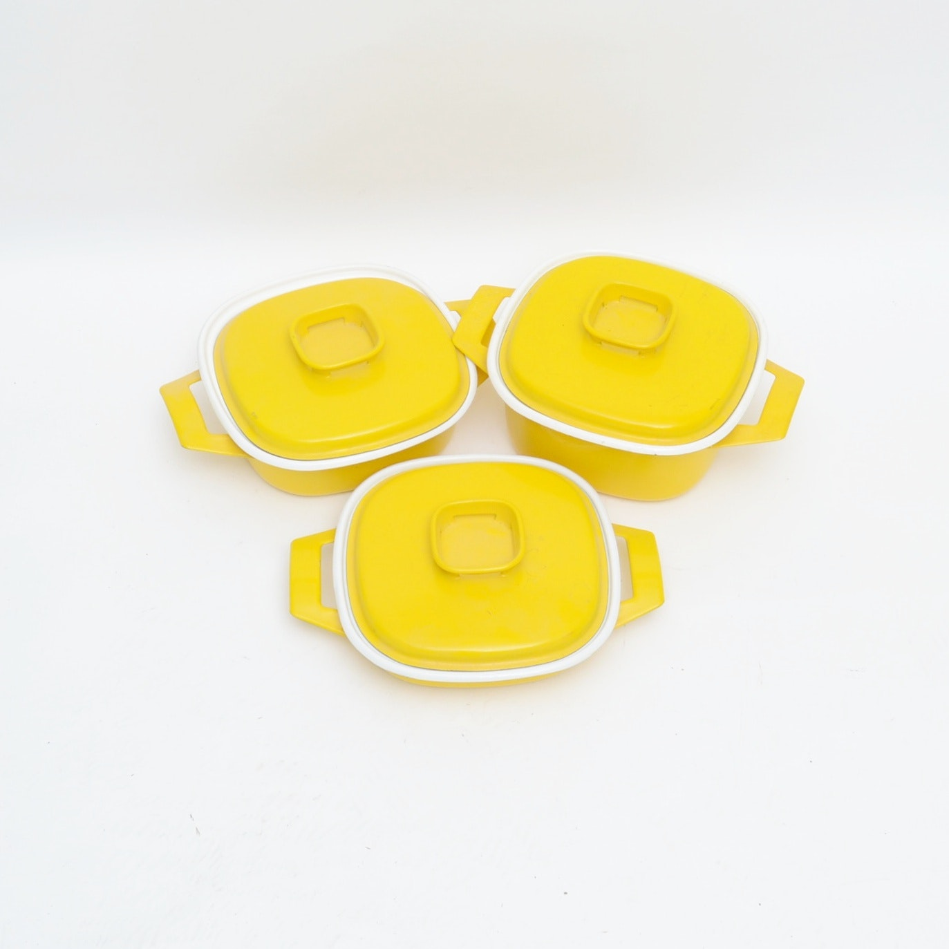 Vintage Enamel over Cast Iron Yellow Cookware