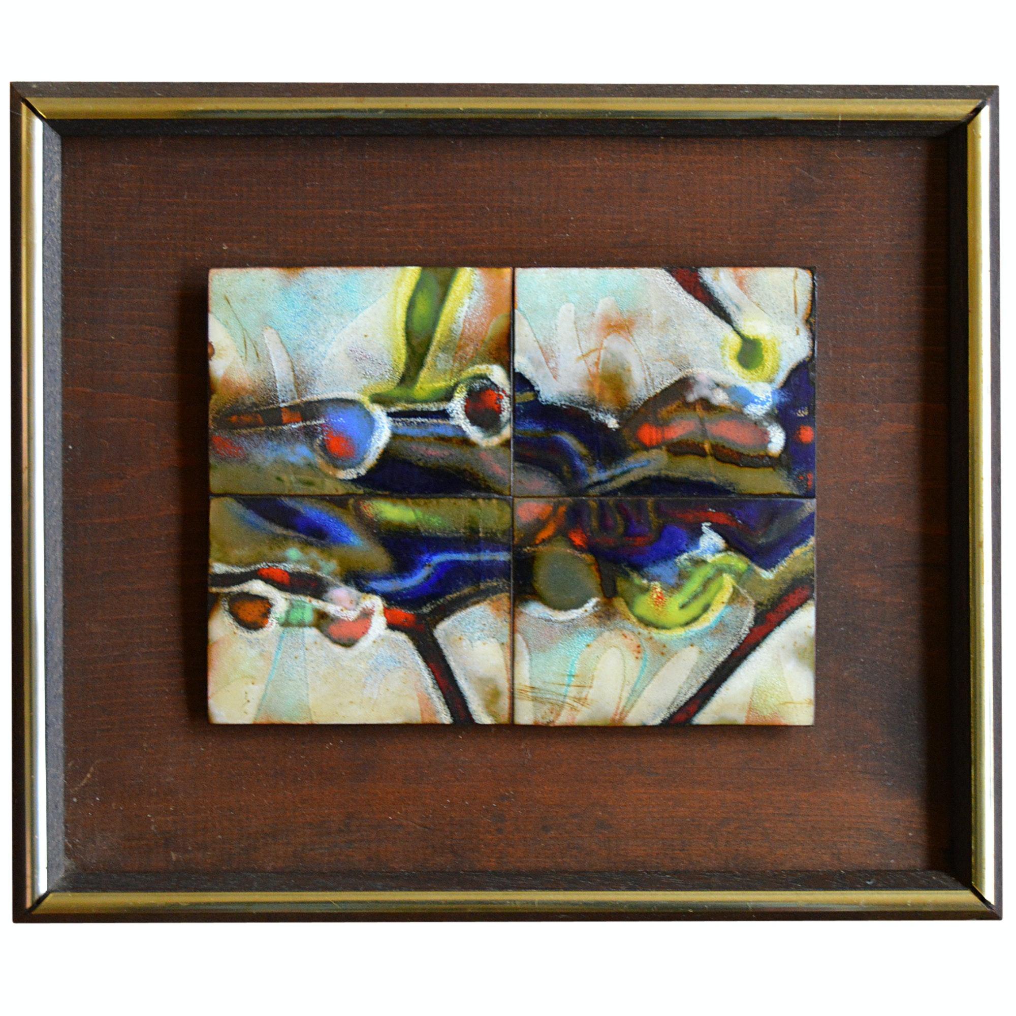 Framed Copper Enamel Tiles