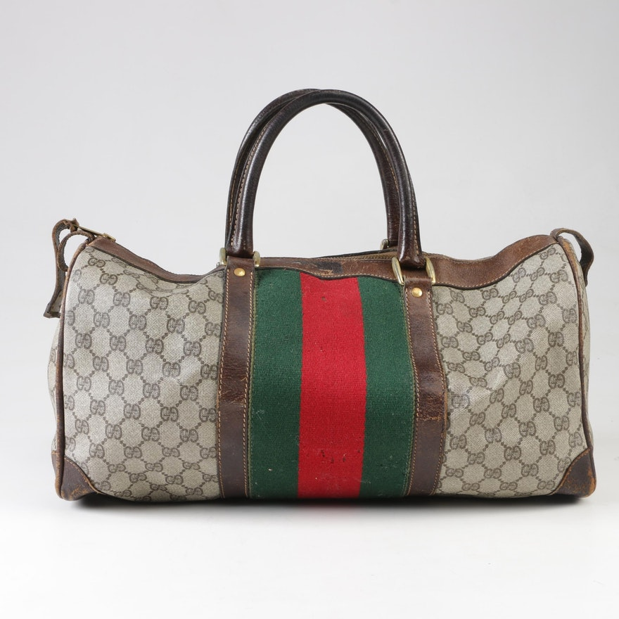 6d63df8118ea Gucci GG Supreme Canvas Travel Duffel with Wool Web Stripe, 1980s Vintage :  EBTH