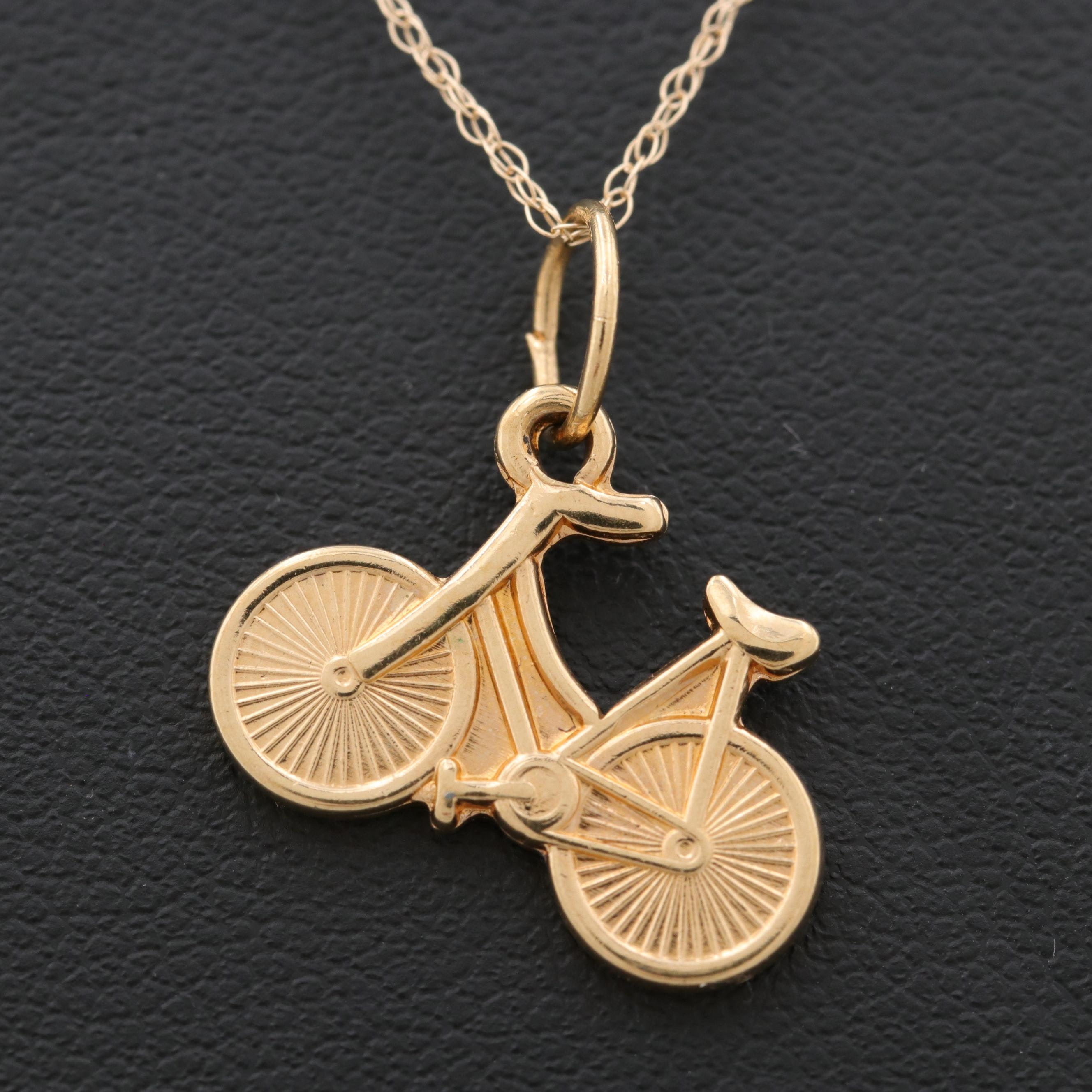 14K Yellow Gold Necklace with Gold Tone Bicycle Pendant