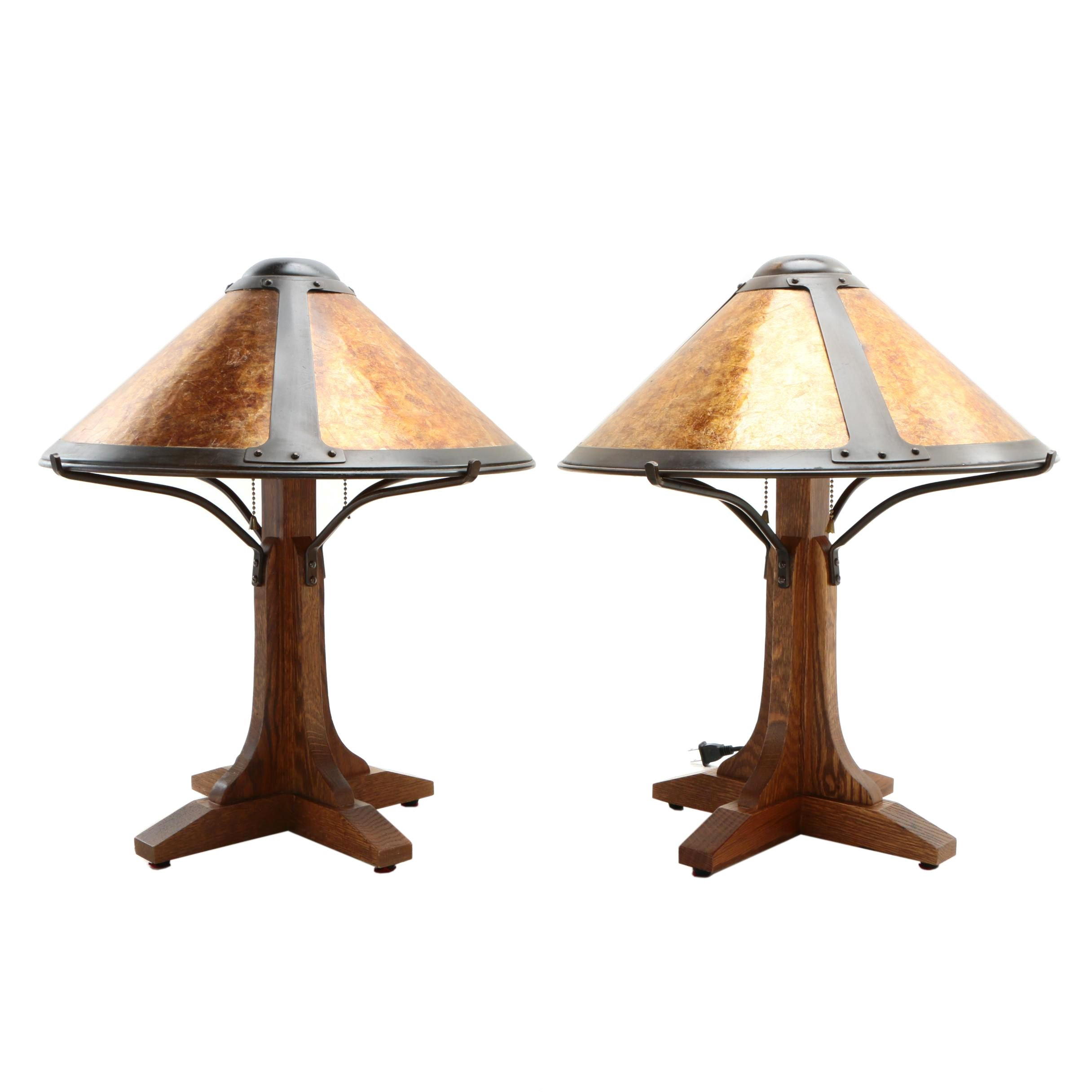 Arts and Crafts Oak Table Lamps with Mica Shades