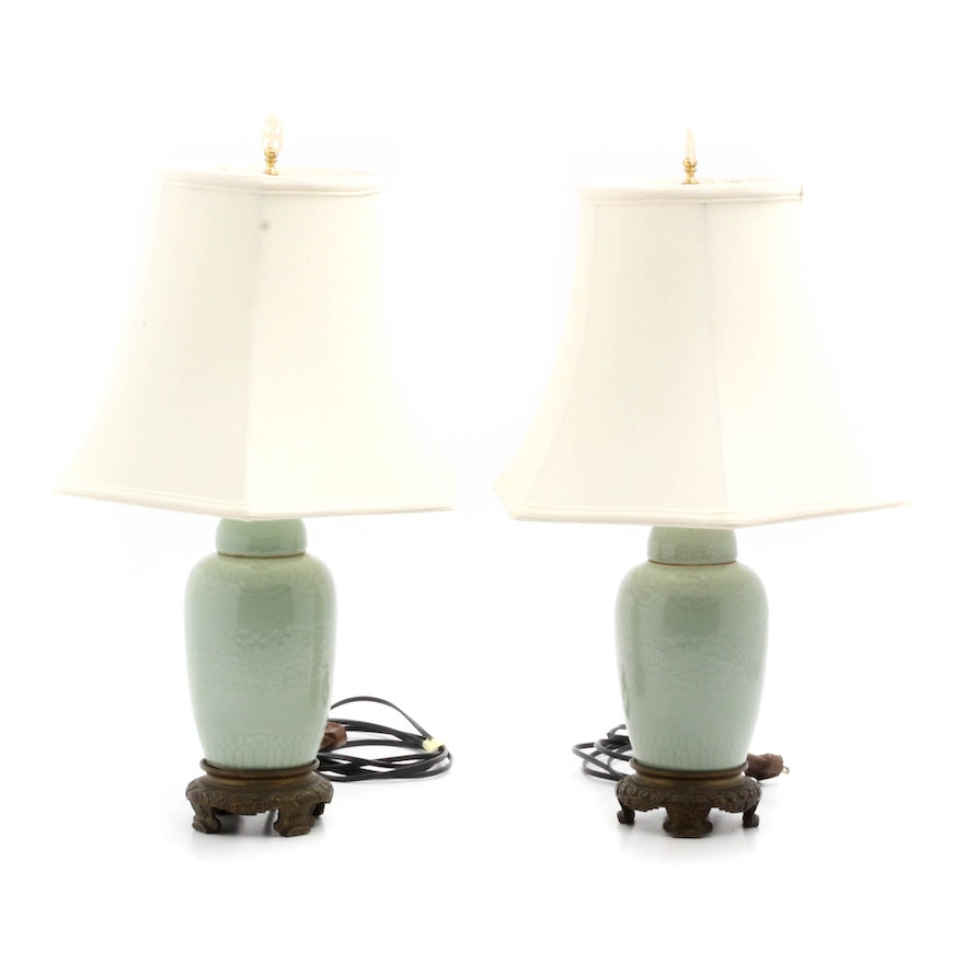 Chinese Celadon Ginger Jar Lamps With Carved Bone Finials Ebth