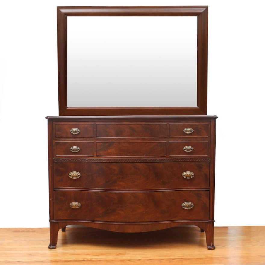 American Furniture Company Wood Veneer Dresser With Mirror Ebth