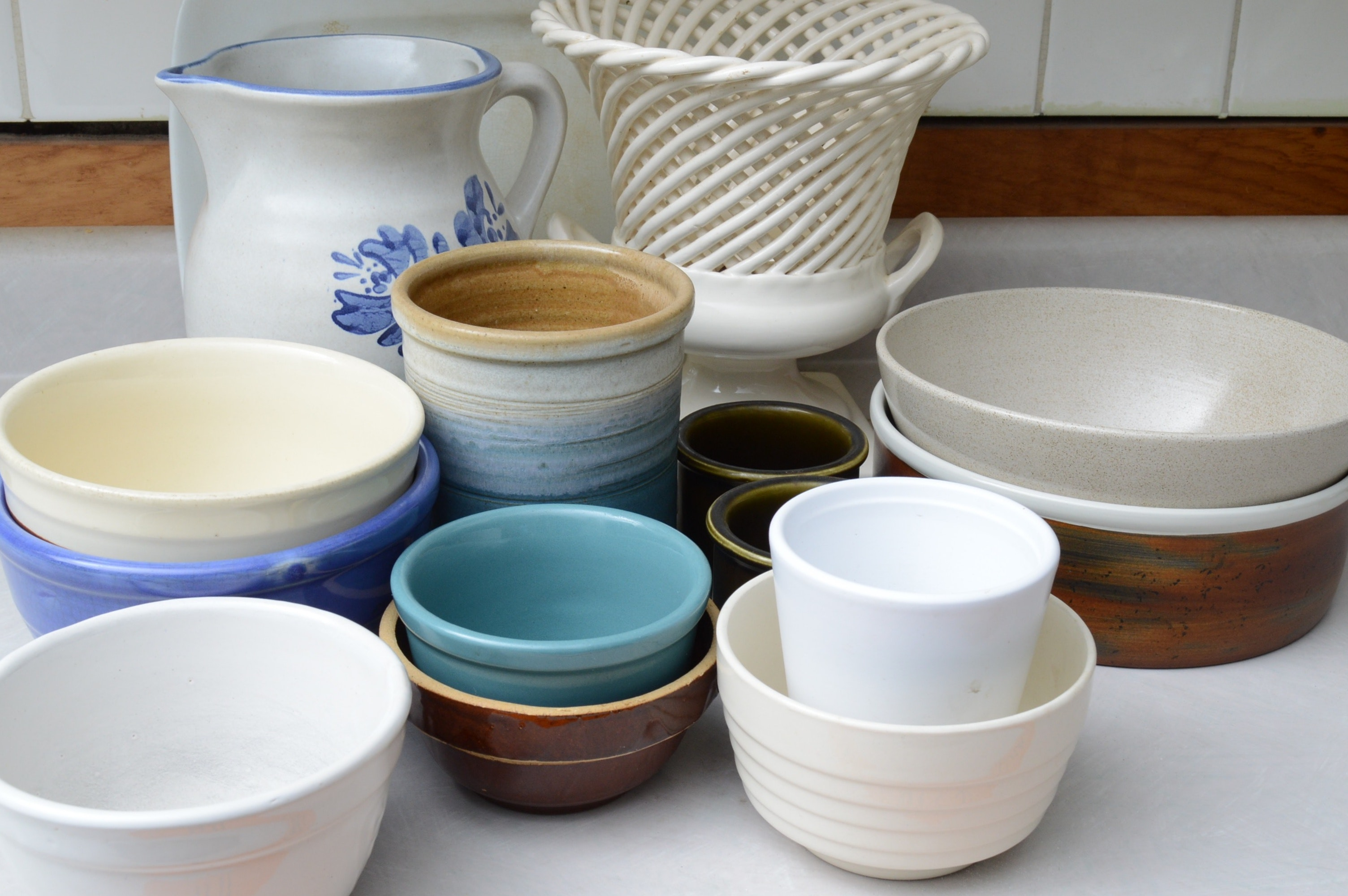 Ironstone Platter and Mixed Pottery Bowls