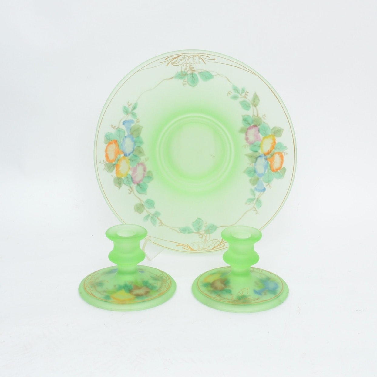 Hand Painted Satin Glass Pedestal Bowl and Candlesticks